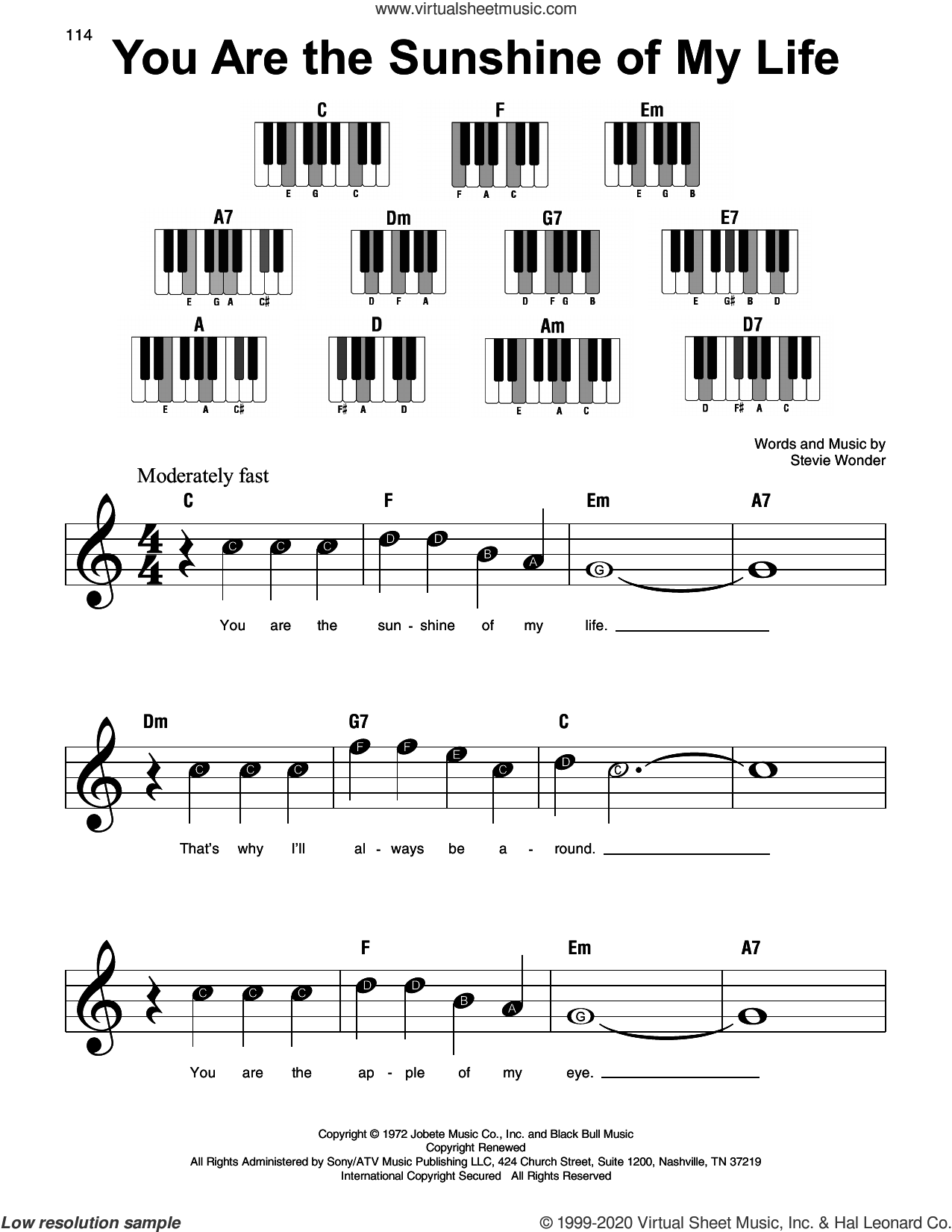 You Are The Sunshine Of My Life sheet music for piano solo by Stevie Wonder, beginner skill level