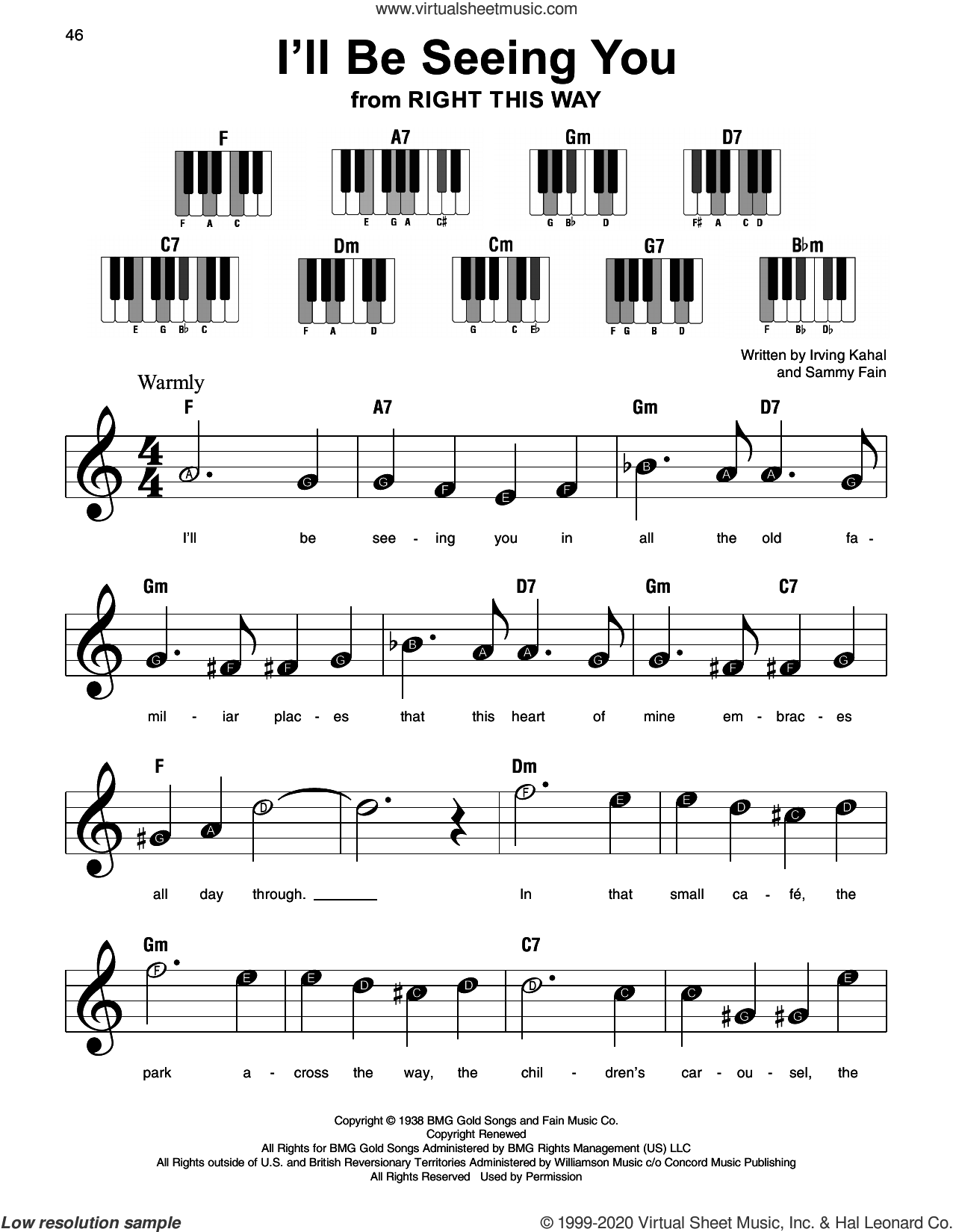 I'll Be Seeing You (from Right This Way) sheet music for piano solo by Sammy Fain, Irving Kahal and Irving Kahal & Sammy Fain, beginner skill level