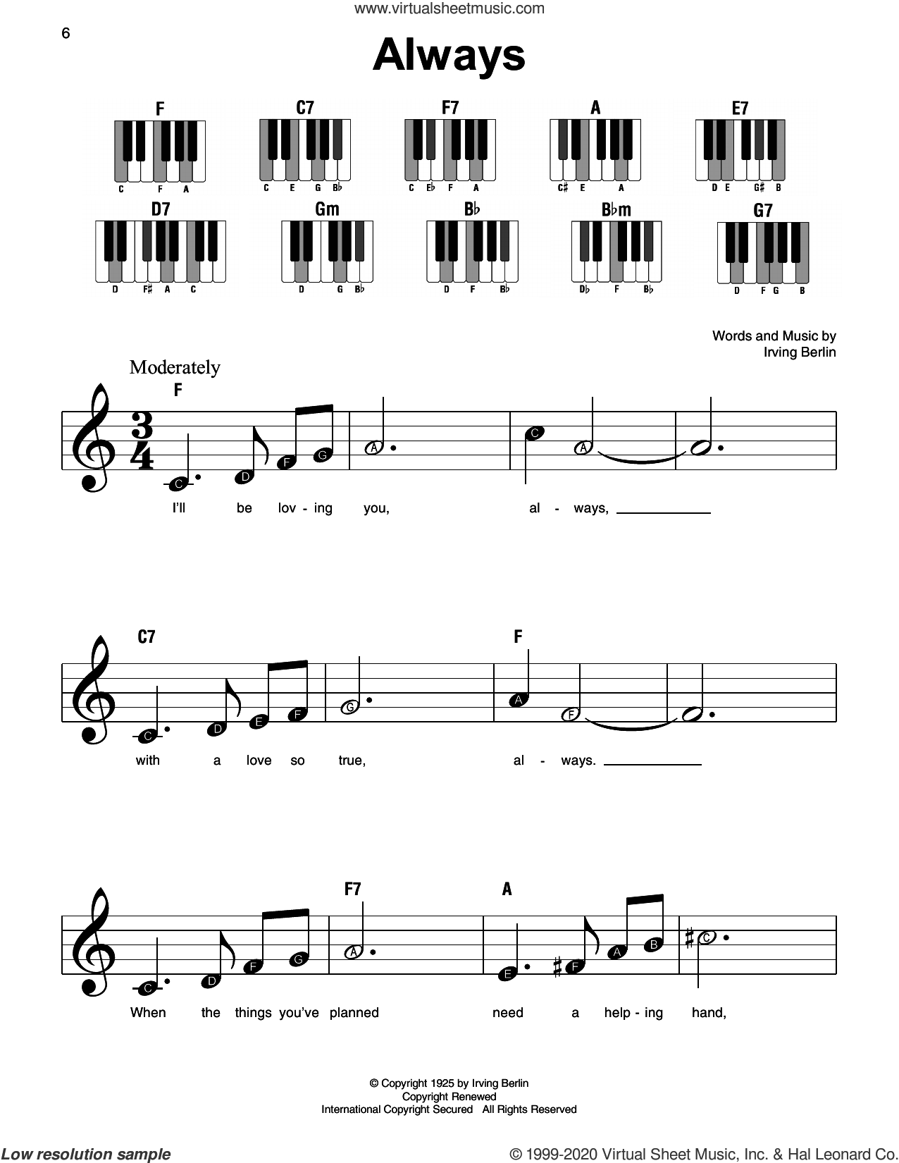 Always sheet music for piano solo by Irving Berlin, beginner skill level