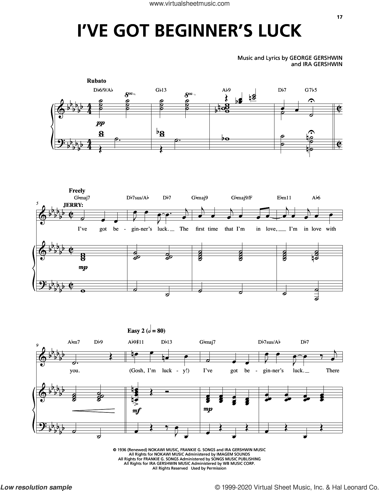 I've Got Beginner's Luck (from An American In Paris) sheet music for voice and piano by George Gershwin, George Gershwin & Ira Gershwin and Ira Gershwin, intermediate skill level