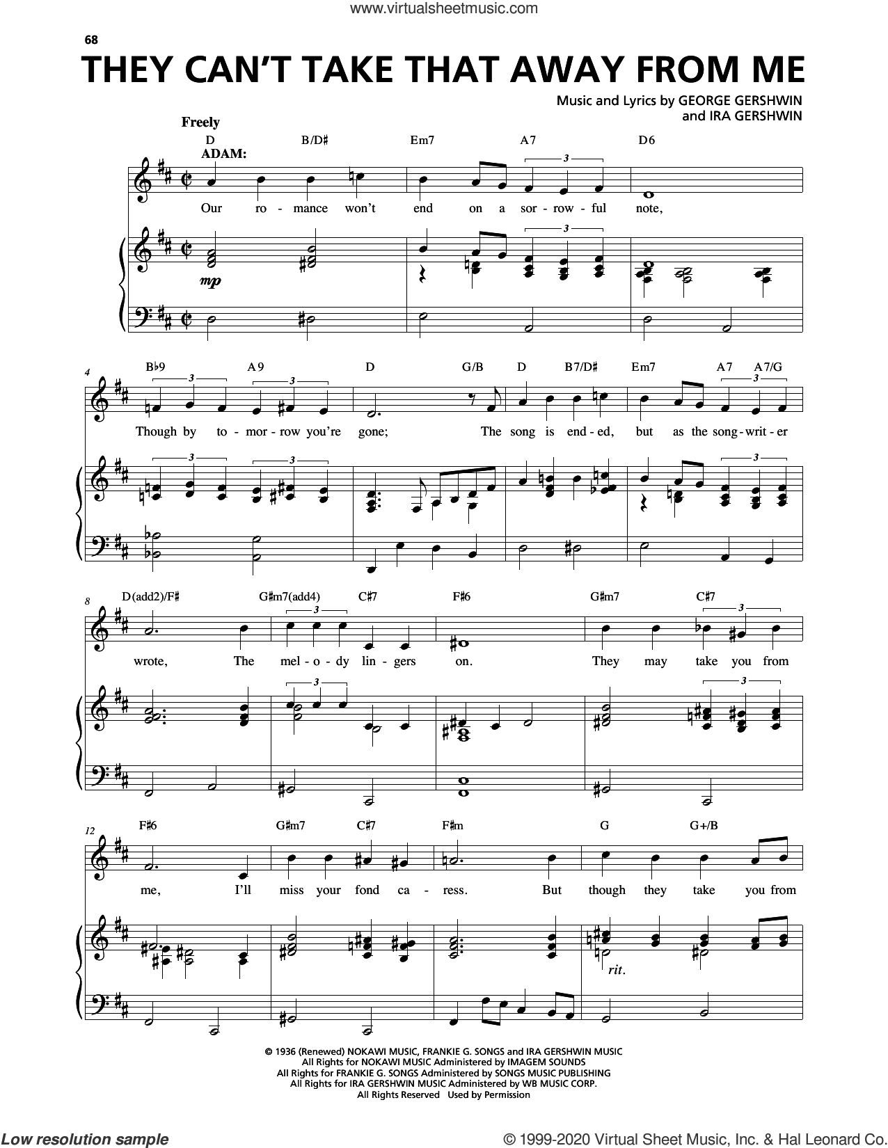 They Can't Take That Away From Me (from An American In Paris) sheet music for voice and piano by George Gershwin, George Gershwin & Ira Gershwin and Ira Gershwin, intermediate skill level