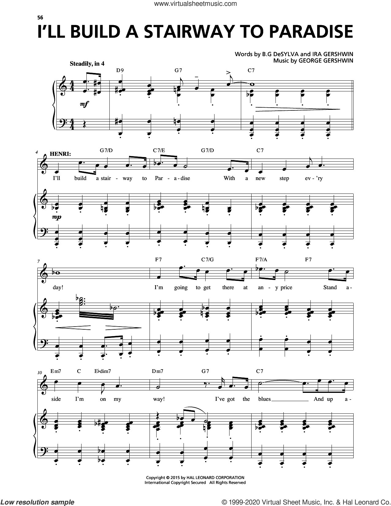 I'll Build A Stairway To Paradise (from An American In Paris) sheet music for voice and piano by George Gershwin, George Gershwin & Ira Gershwin and Ira Gershwin, intermediate skill level