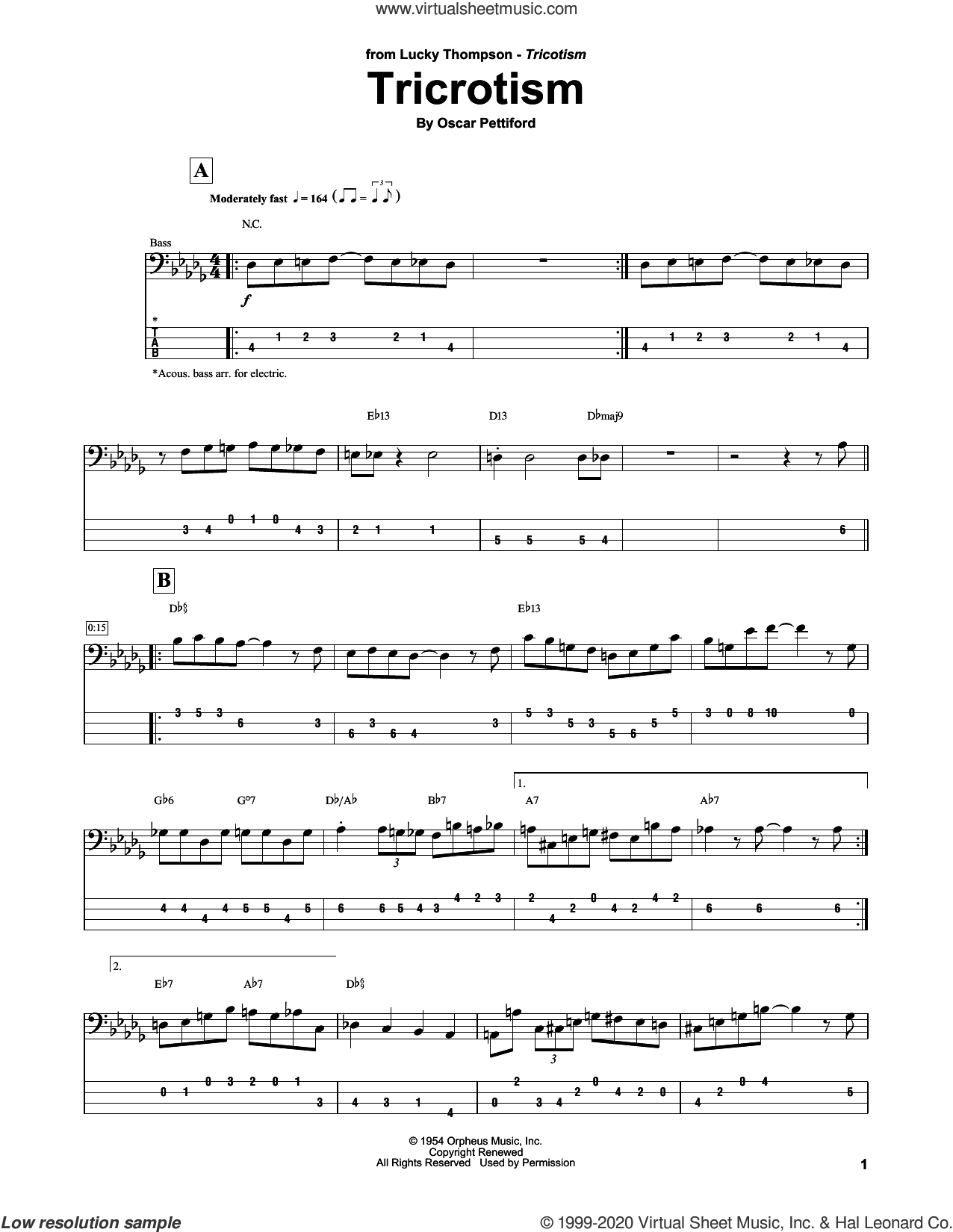 Tricrotism sheet music for bass (tablature) (bass guitar) by Lucky Thomspon and Oscar Pettiford, intermediate skill level