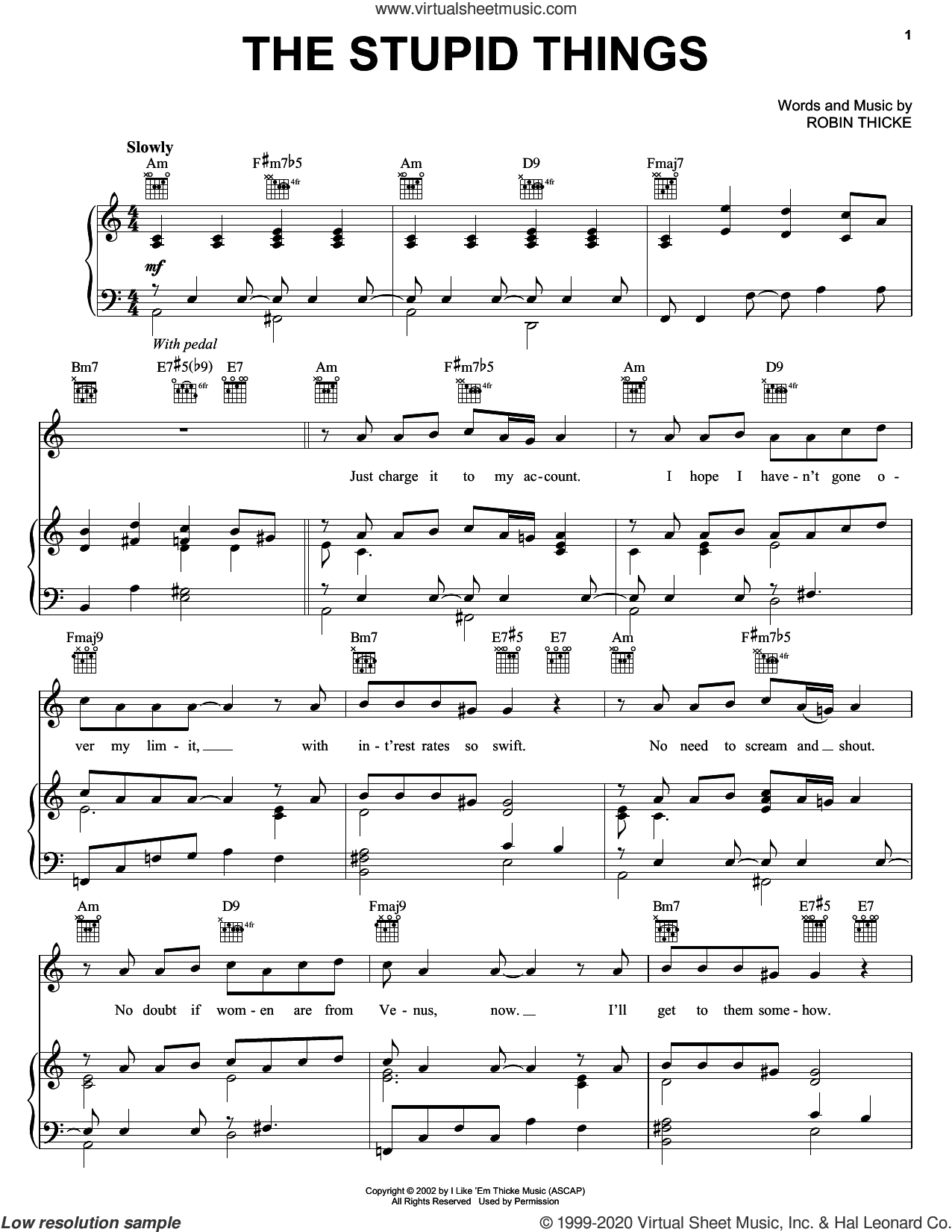 The Stupid Things sheet music for voice, piano or guitar by Jesse McCartney and Robin Thicke, intermediate skill level