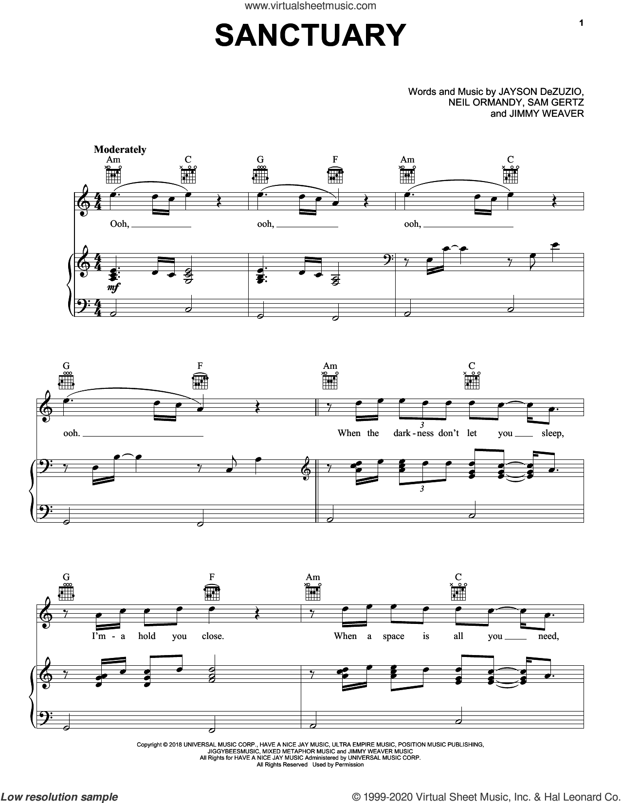 Sanctuary sheet music for voice, piano or guitar by Welshly Arms, Jayson Dezuzio, Jimmy Weaver, Neil Ormandy and Samuel Getz, intermediate skill level