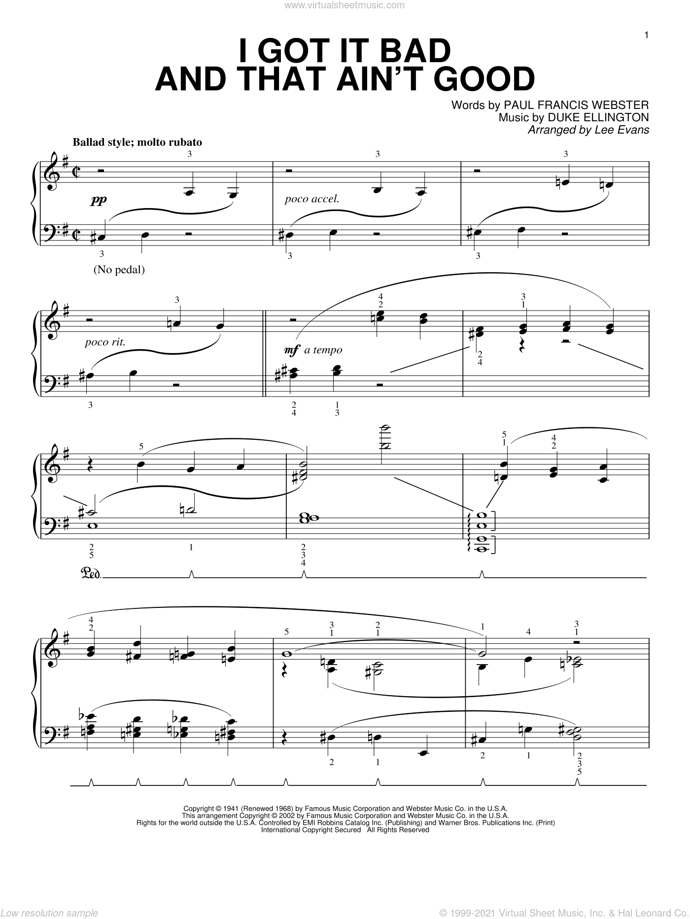 I Got It Bad And That Ain't Good sheet music for piano solo by Paul Francis Webster and Duke Ellington, intermediate skill level