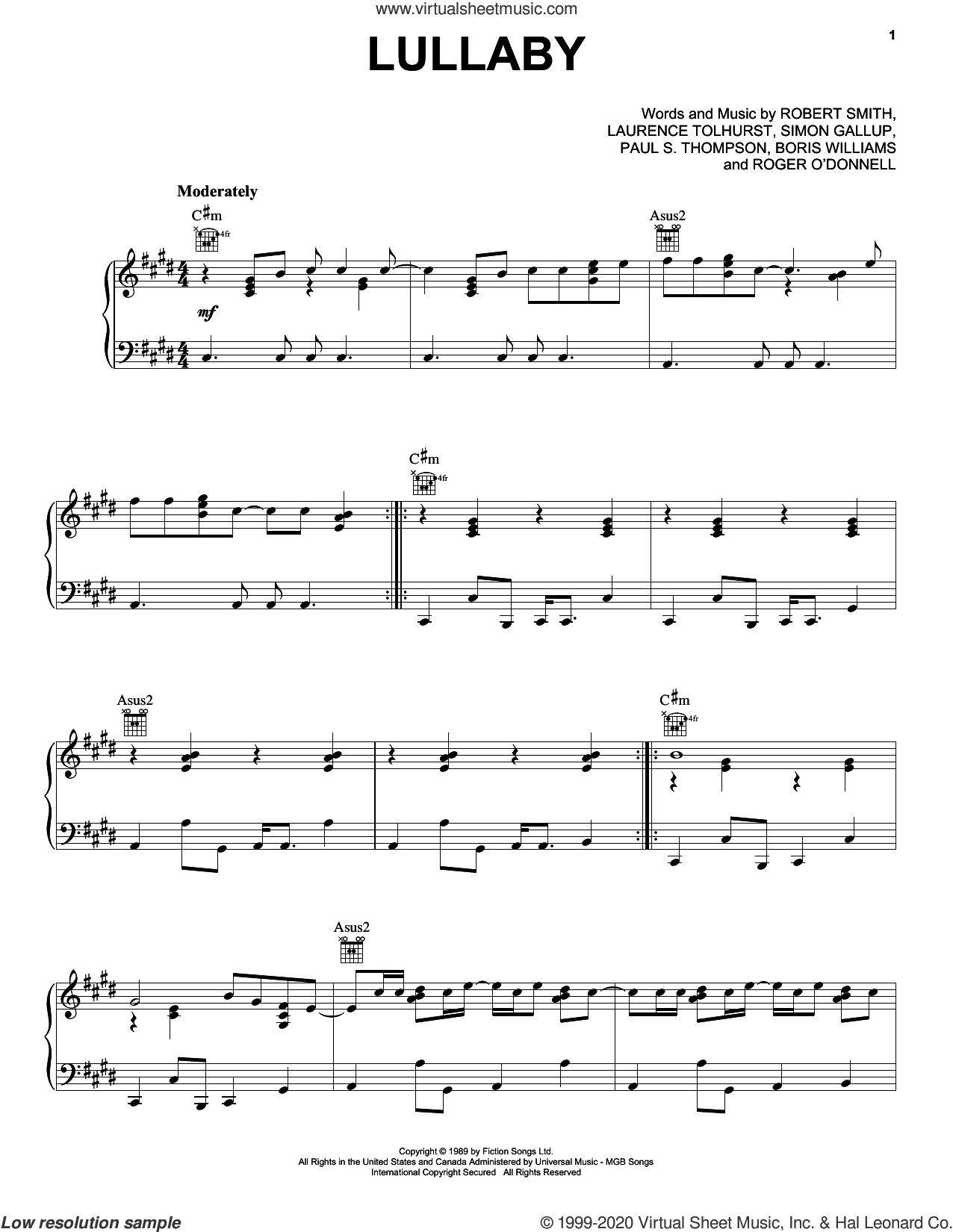 Lullaby sheet music for voice, piano or guitar by The Cure, Boris Williams, Laurence Tolhurst, Paul S. Thompson, Robert Smith and Simon Gallup, intermediate skill level