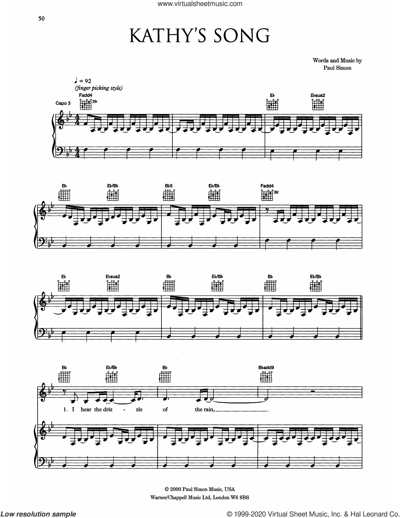 Kathy's Song sheet music for voice, piano or guitar by Eva Cassidy and Paul Simon, intermediate skill level
