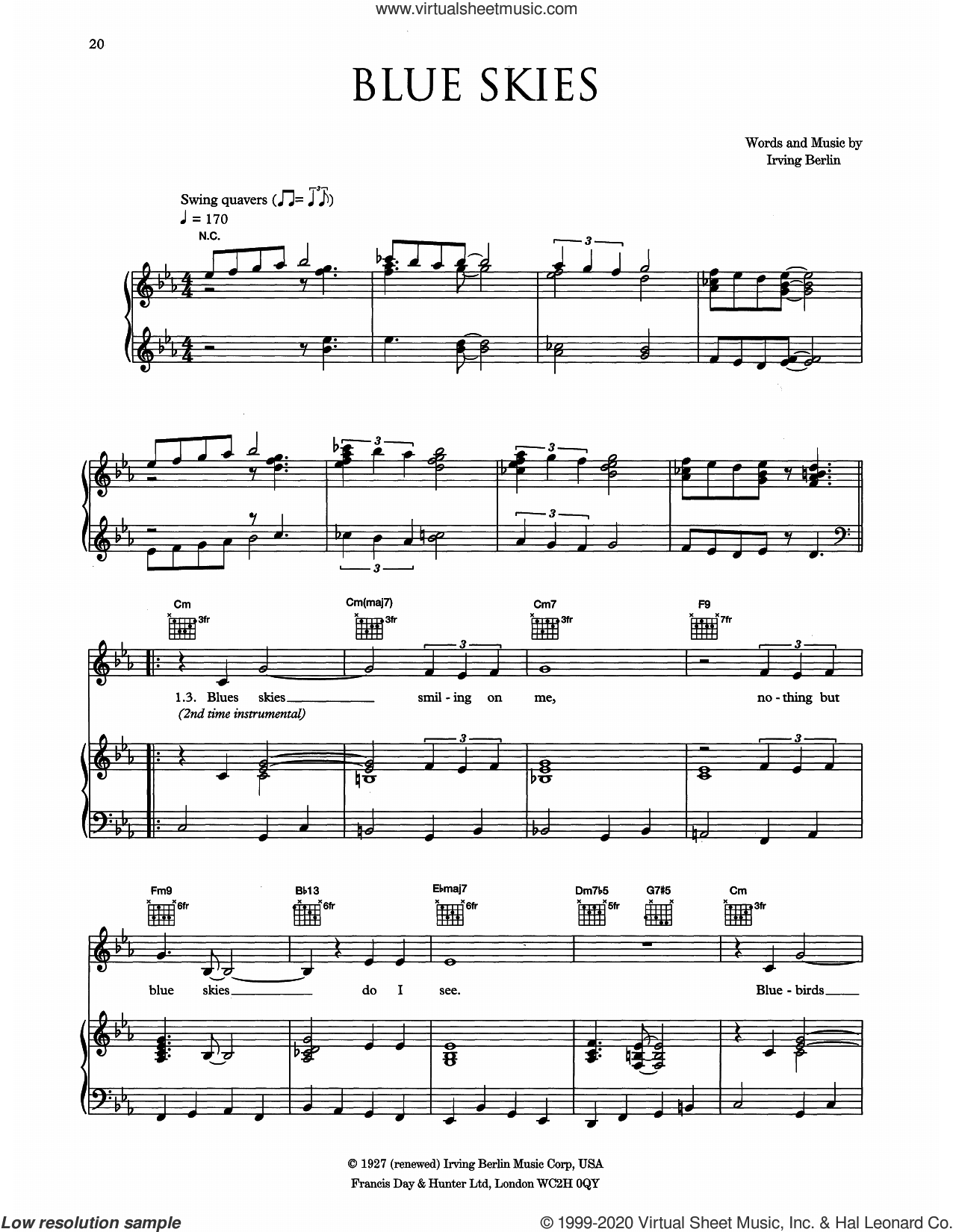 Blue Skies sheet music for voice, piano or guitar by Eva Cassidy and Irving Berlin, intermediate skill level