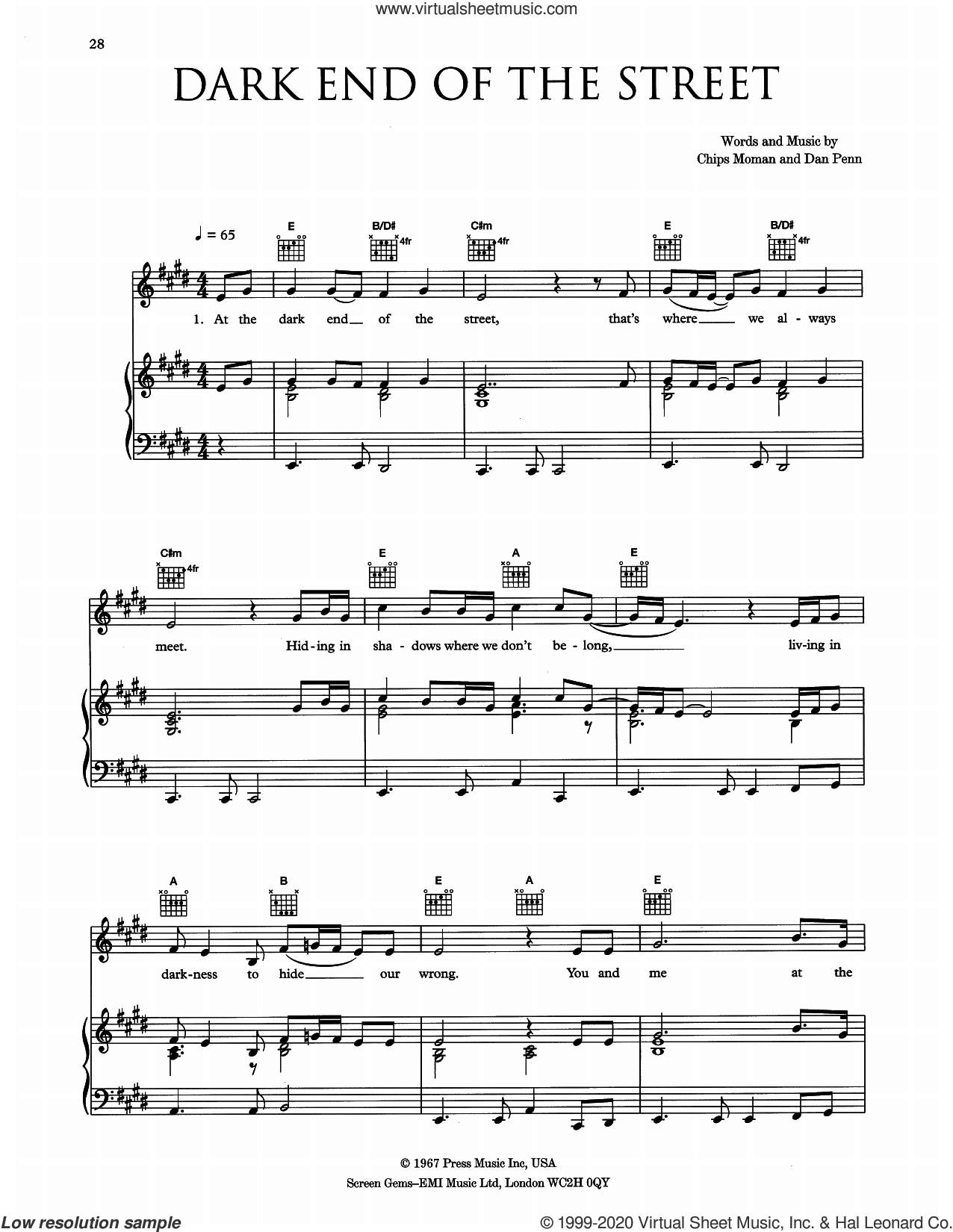 The Dark End Of The Street sheet music for voice, piano or guitar by Eva Cassidy, Chips Moman and Dan Penn, intermediate skill level