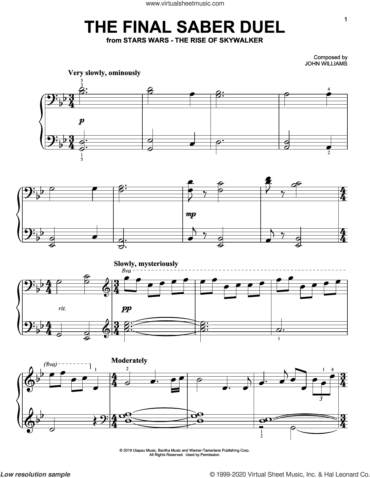 The Final Saber Duel (from The Rise Of Skywalker) sheet music for piano solo by John Williams, easy skill level