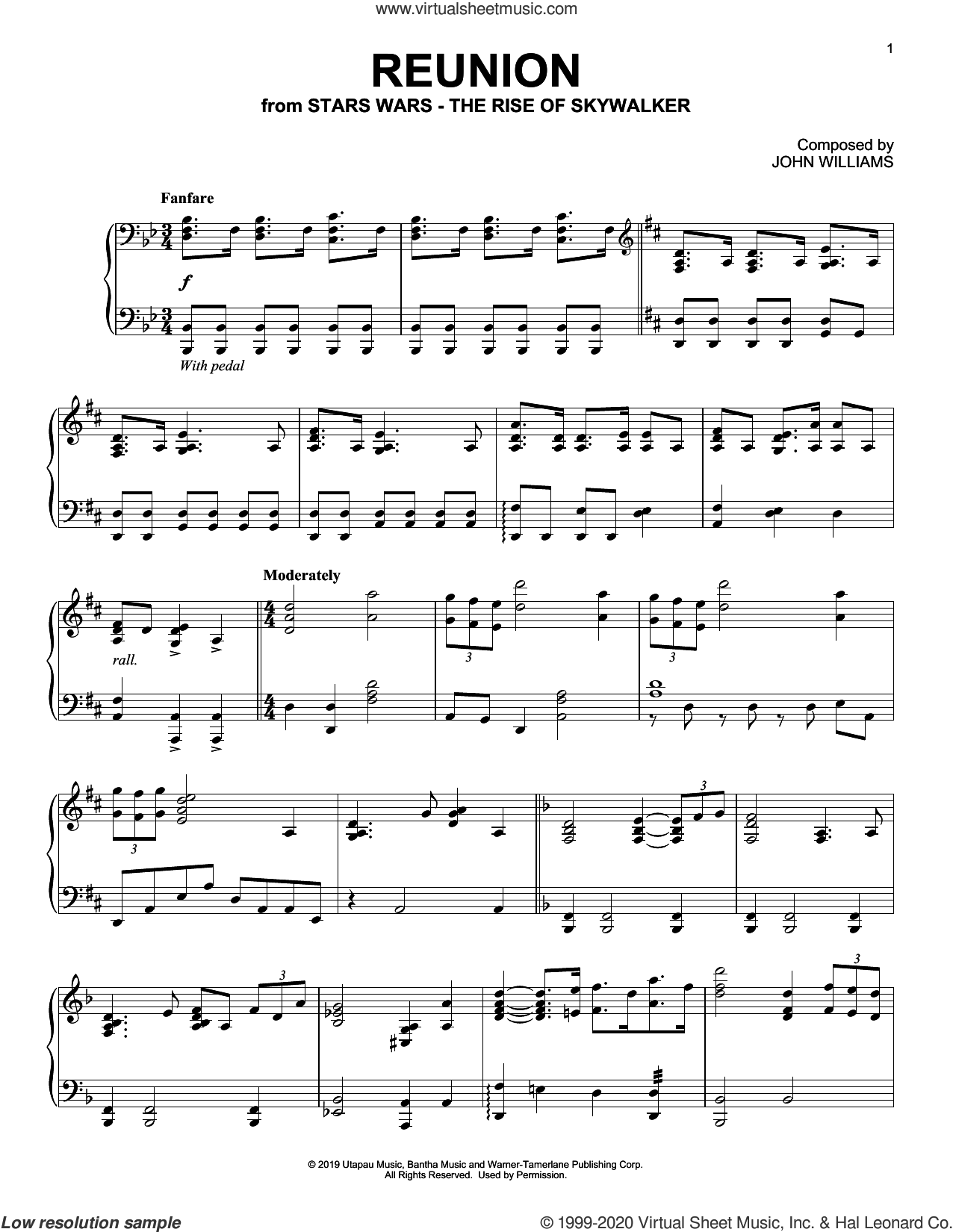 Reunion (from The Rise Of Skywalker) sheet music for piano solo by John Williams, intermediate skill level