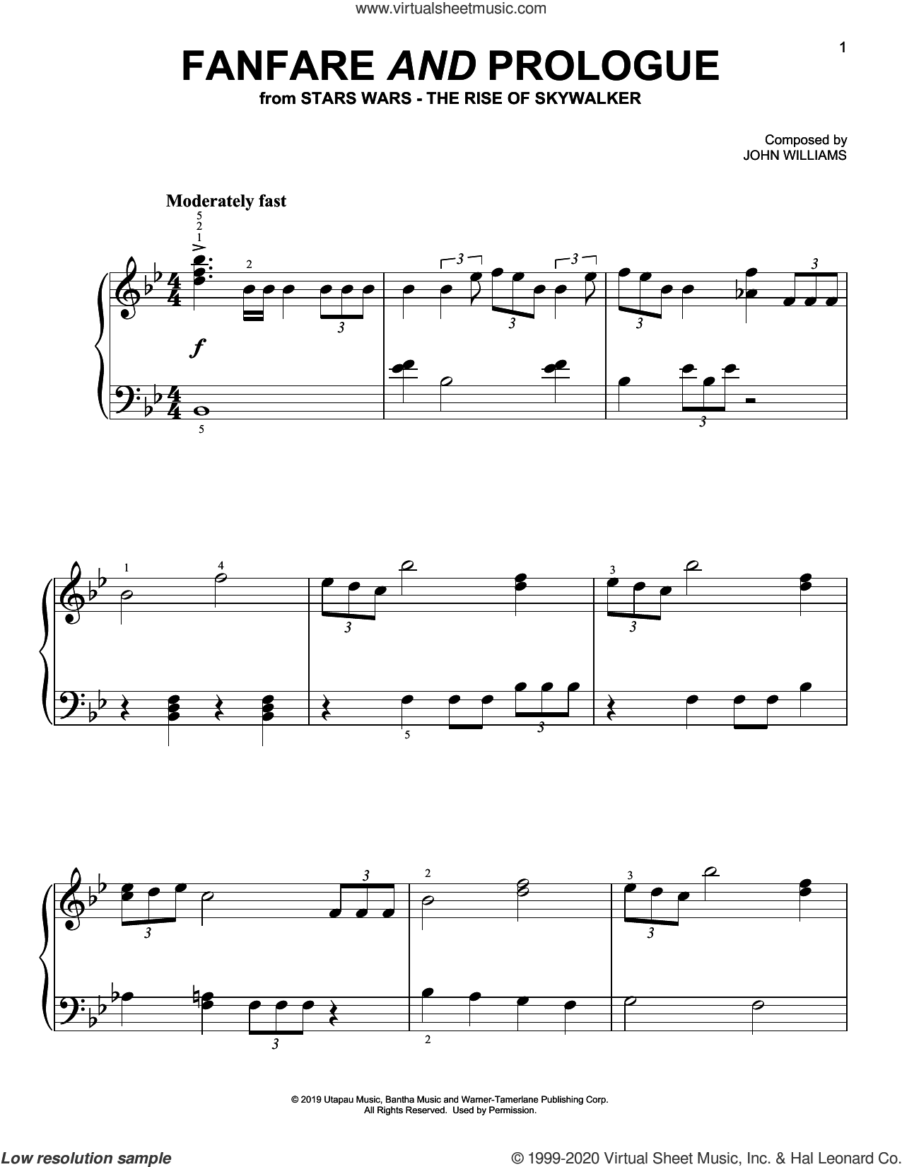 Fanfare And Prologue (from The Rise Of Skywalker) sheet music for piano solo by John Williams, easy skill level