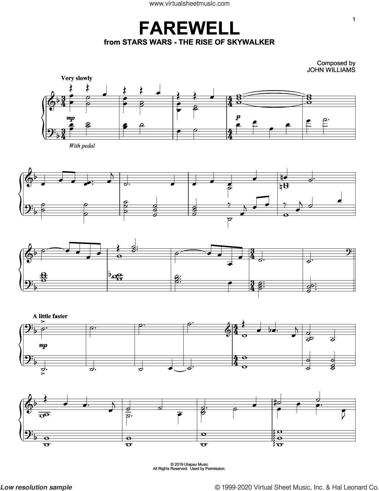 Farewell (from The Rise Of Skywalker) sheet music for piano solo by John Williams, intermediate skill level