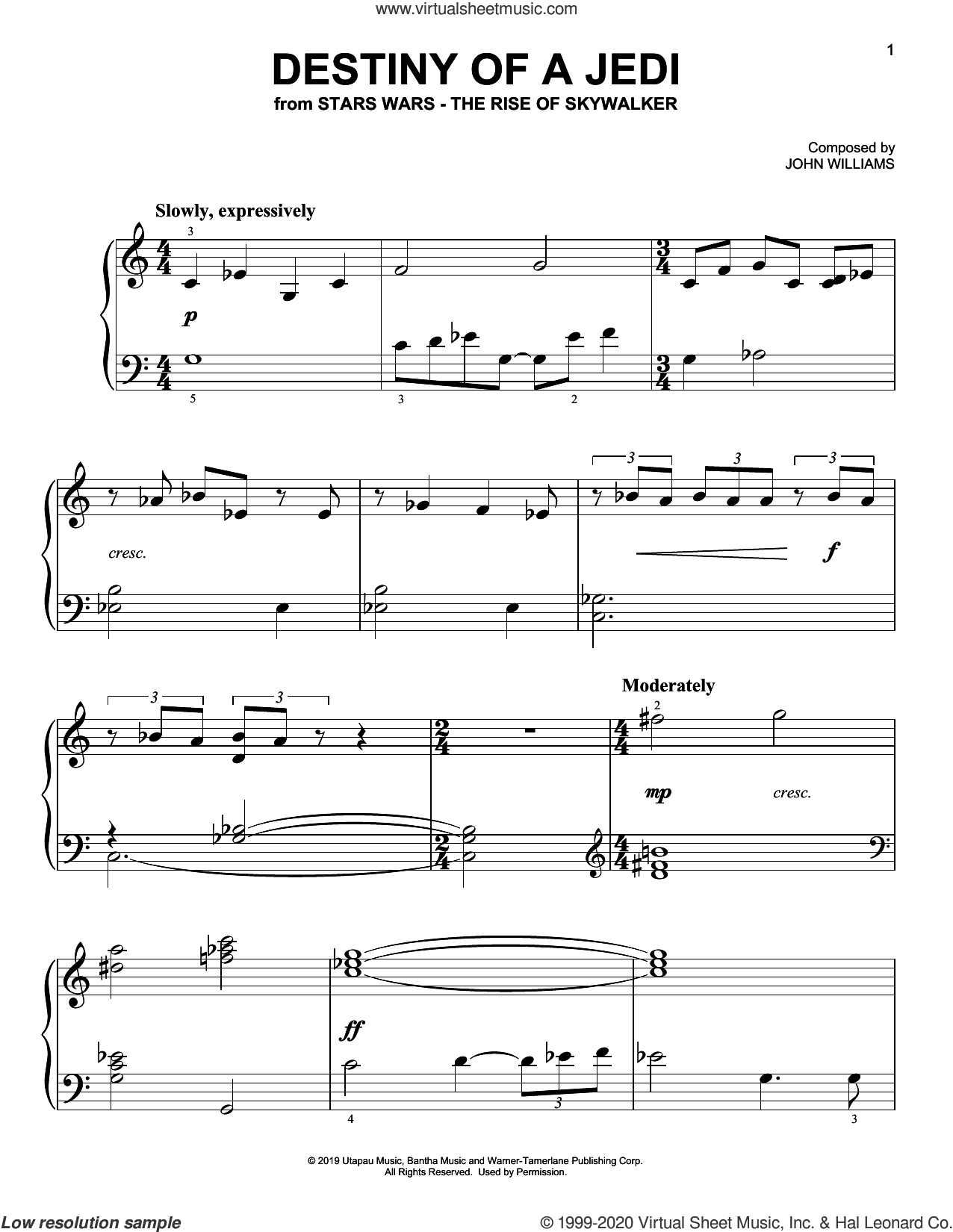 Destiny Of A Jedi (from The Rise Of Skywalker) sheet music for piano solo by John Williams, easy skill level