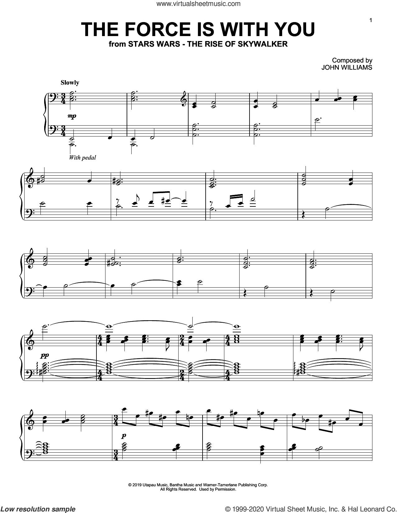 The Force Is With You (from The Rise Of Skywalker) sheet music for piano solo by John Williams, intermediate skill level