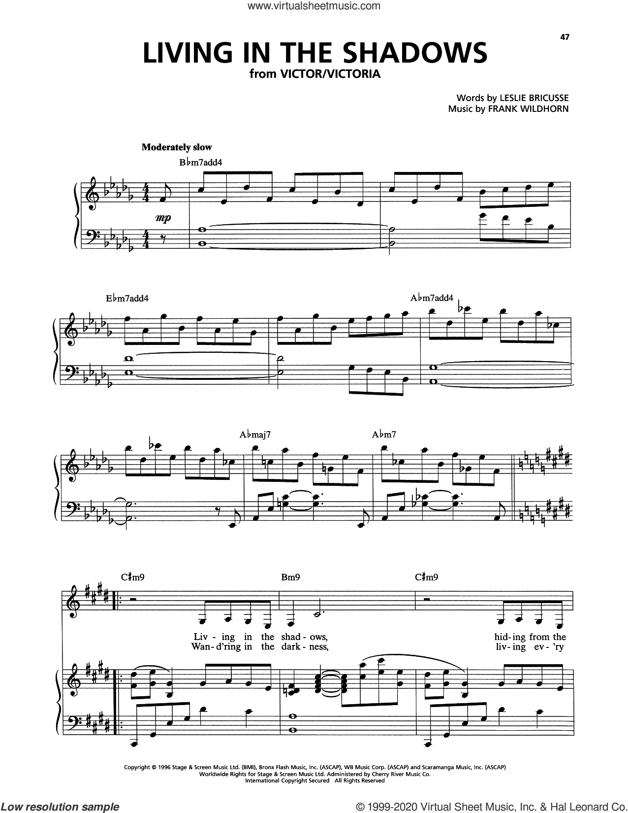 Living In The Shadows (from Victor/Victoria) sheet music for voice, piano or guitar by Leslie Bricusse, Frank Wildhorn and Leslie Bricusse and Frank Wildhorn, intermediate skill level