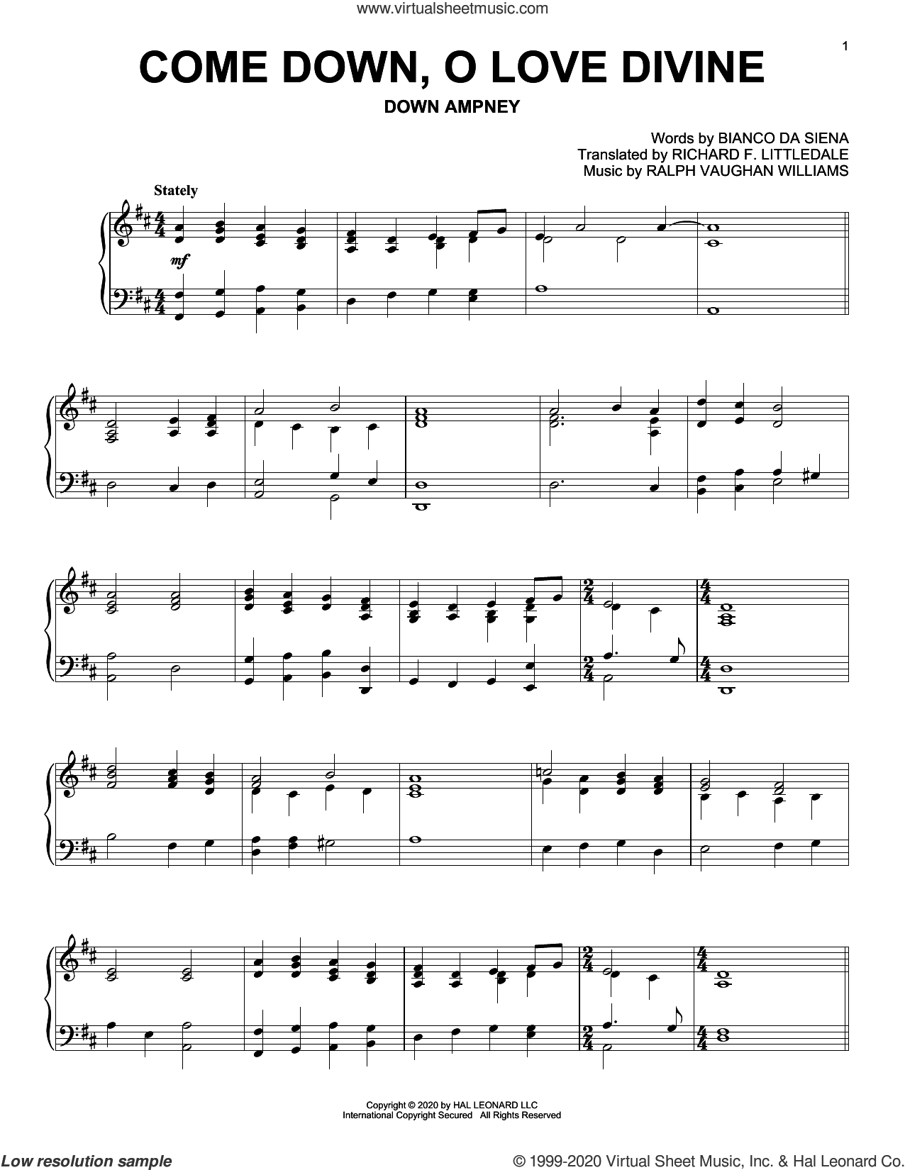 Come Down, O Love Divine sheet music for piano solo by Ralph Vaughan Williams, Bianco Da Siena and Bianco da Siena and Ralph Vaughan Williams, intermediate skill level