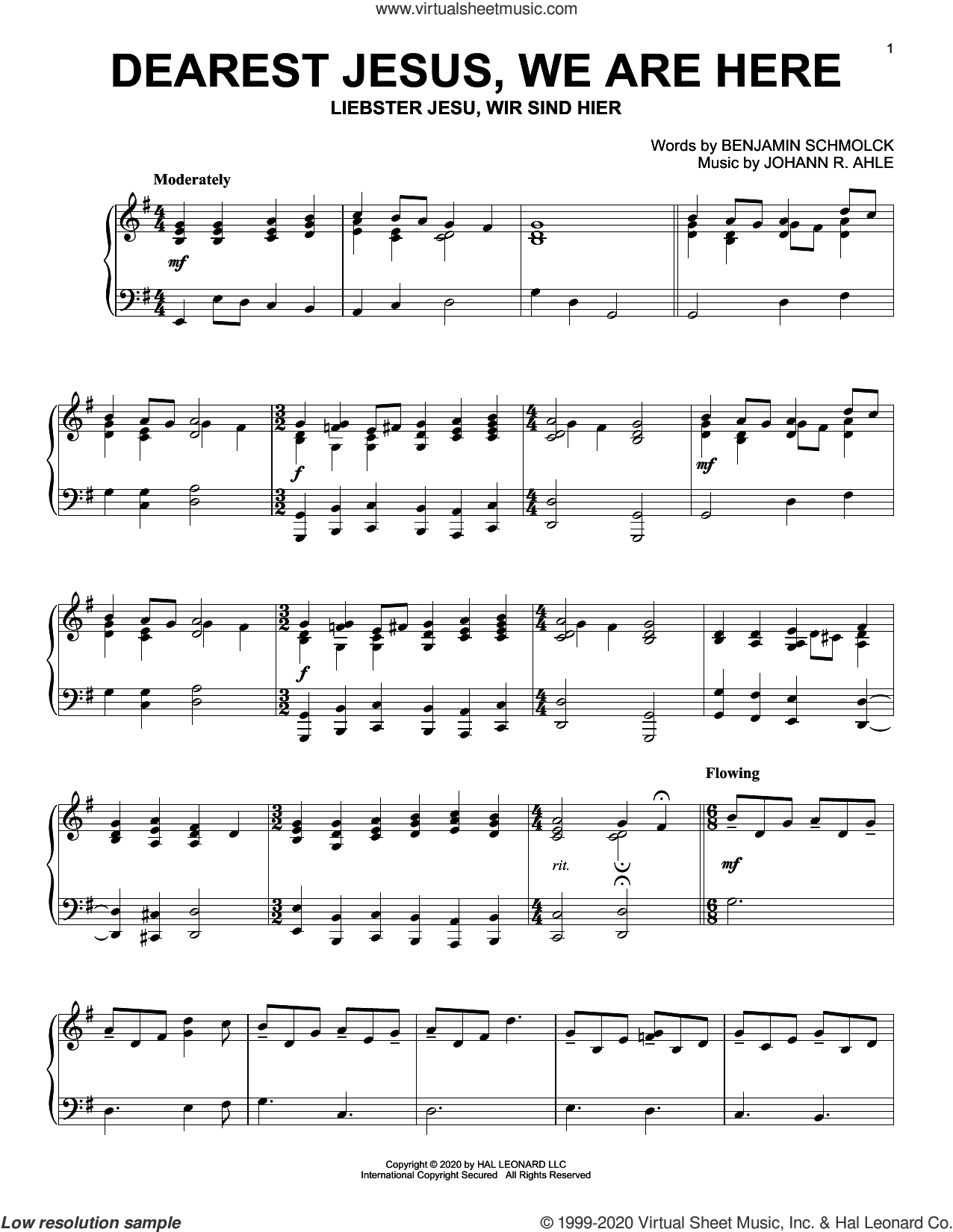 Dearest Jesus, We Are Here sheet music for piano solo by Benjamin Schmolck and Johann R. Ahle, Benjamin Schmolck and Johann R. Ahle, intermediate skill level
