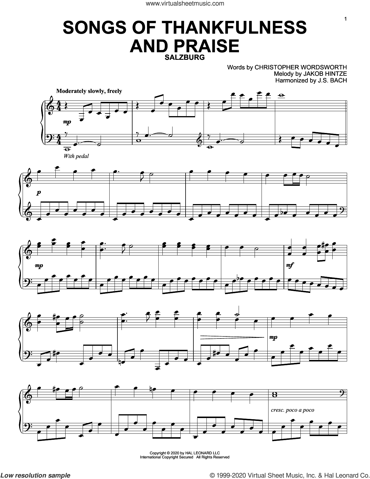 Songs Of Thankfulness And Praise sheet music for piano solo by Christopher Wordsworth, Christopher Wordsworth and Jakob Hintze, J.S. Bach (harm.) and Jakob Hintze, intermediate skill level