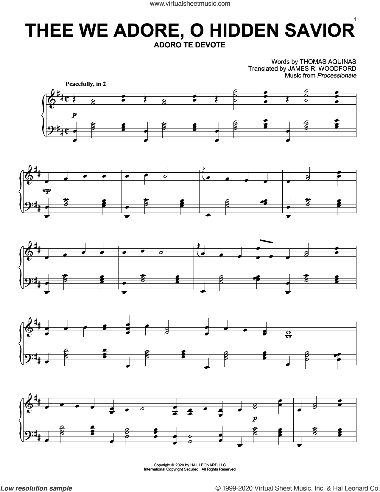 Thee We Adore, O Hidden Savior sheet music for piano solo by Thomas Aquinas, James R. Woodford and Processionale, intermediate skill level