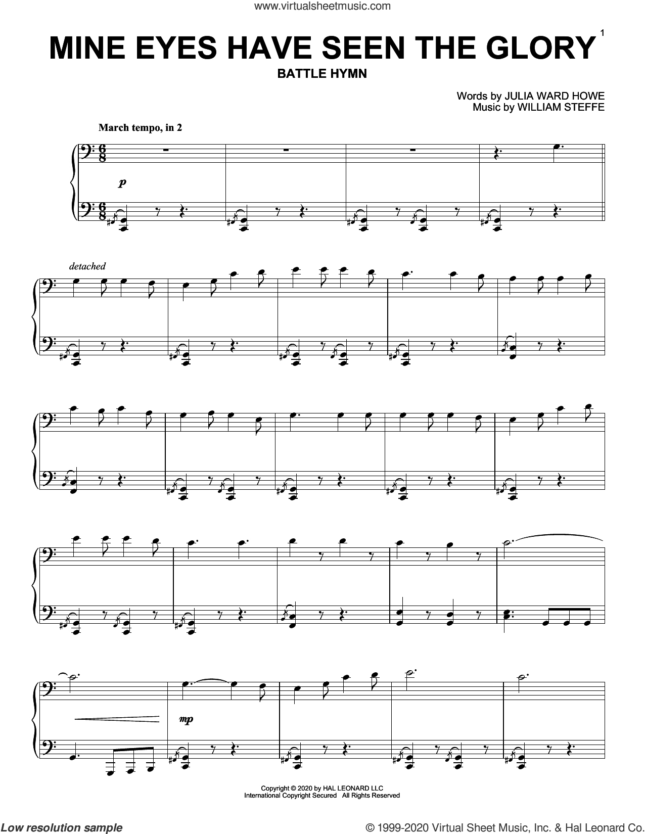 Mine Eyes Have Seen The Glory sheet music for piano solo by William Steffe, Julia Ward Howe and Julia Ward Howe & William Steffe, intermediate skill level