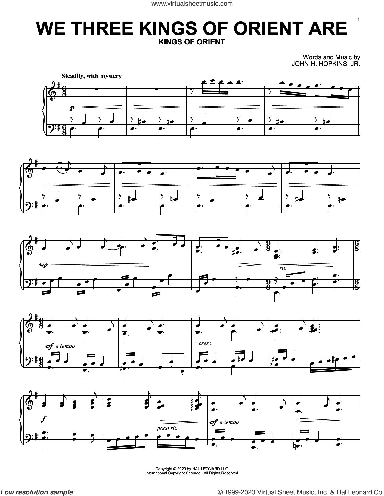 We Three Kings Of Orient Are sheet music for piano solo by John H. Hopkins, Jr., intermediate skill level