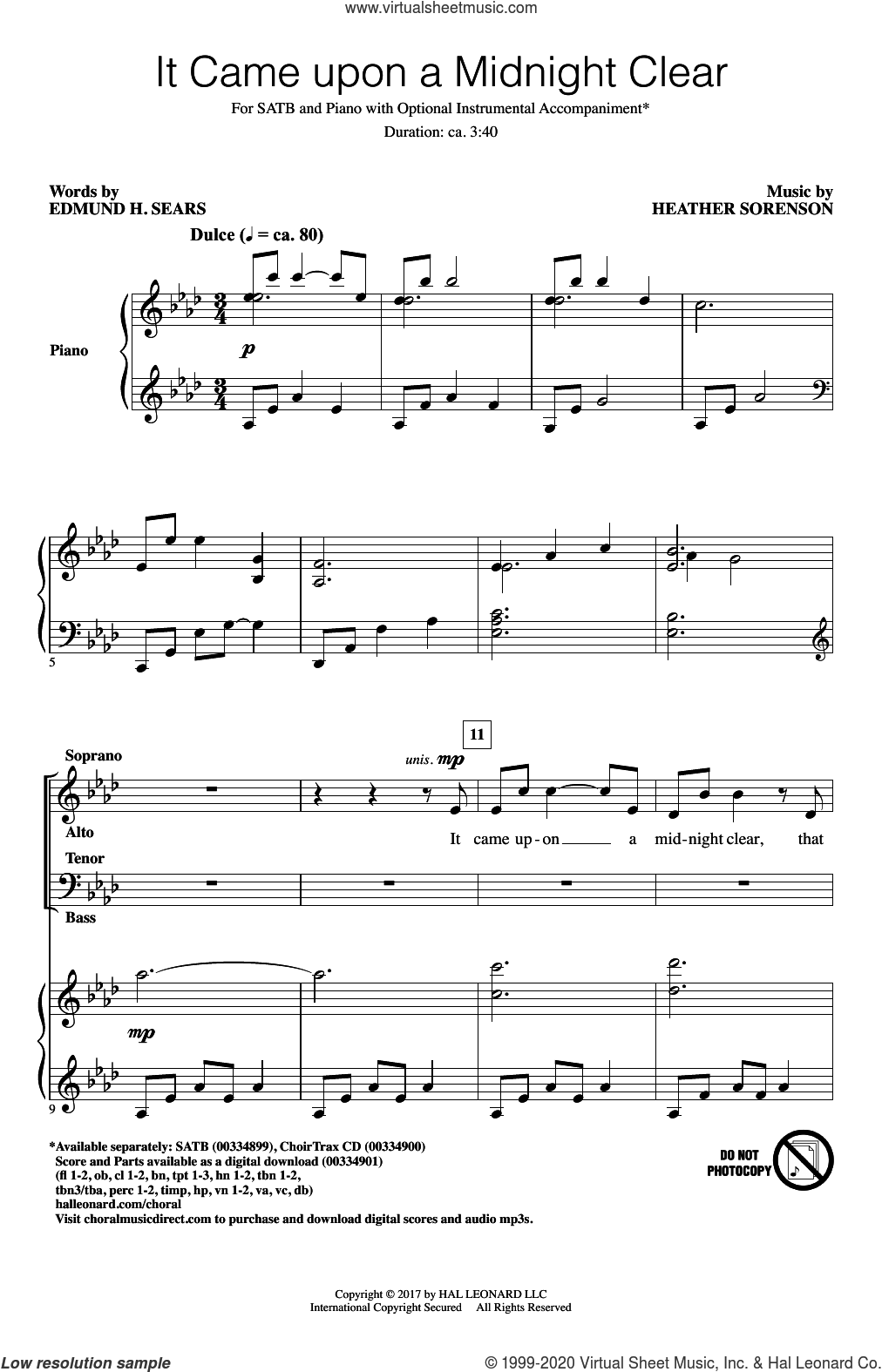 It Came Upon A Midnight Clear sheet music for choir (SATB: soprano, alto, tenor, bass) by Heather Sorenson, Edmund H. Sears and Heather Sorenson and Edmund Hamilton Sears, intermediate skill level
