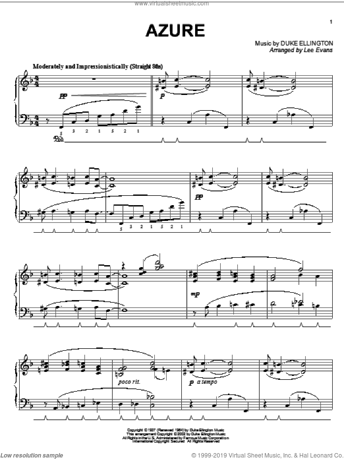 Azure sheet music for piano solo by Duke Ellington and Irving Mills, intermediate. Score Image Preview.