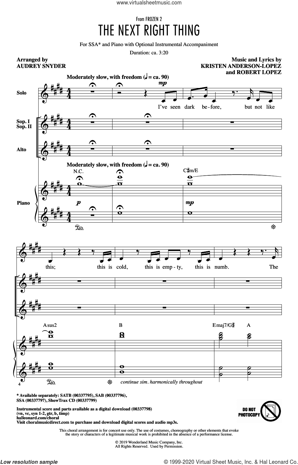 The Next Right Thing (from Disney's Frozen 2) (arr. Audrey Snyder) sheet music for choir (SSA: soprano, alto) by Kristen Bell, Audrey Snyder, Kristen Anderson-Lopez and Robert Lopez, intermediate skill level