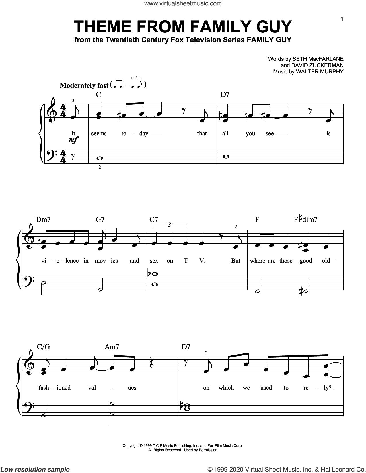 Theme From Family Guy sheet music for piano solo by Walter Murphy, David Zuckerman and Seth MacFarlane, beginner skill level