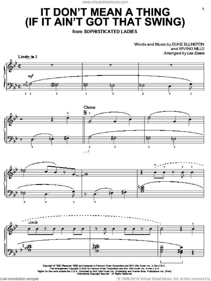 It Don't Mean A Thing (If It Ain't Got That Swing) sheet music for piano solo by Duke Ellington and Irving Mills, intermediate skill level