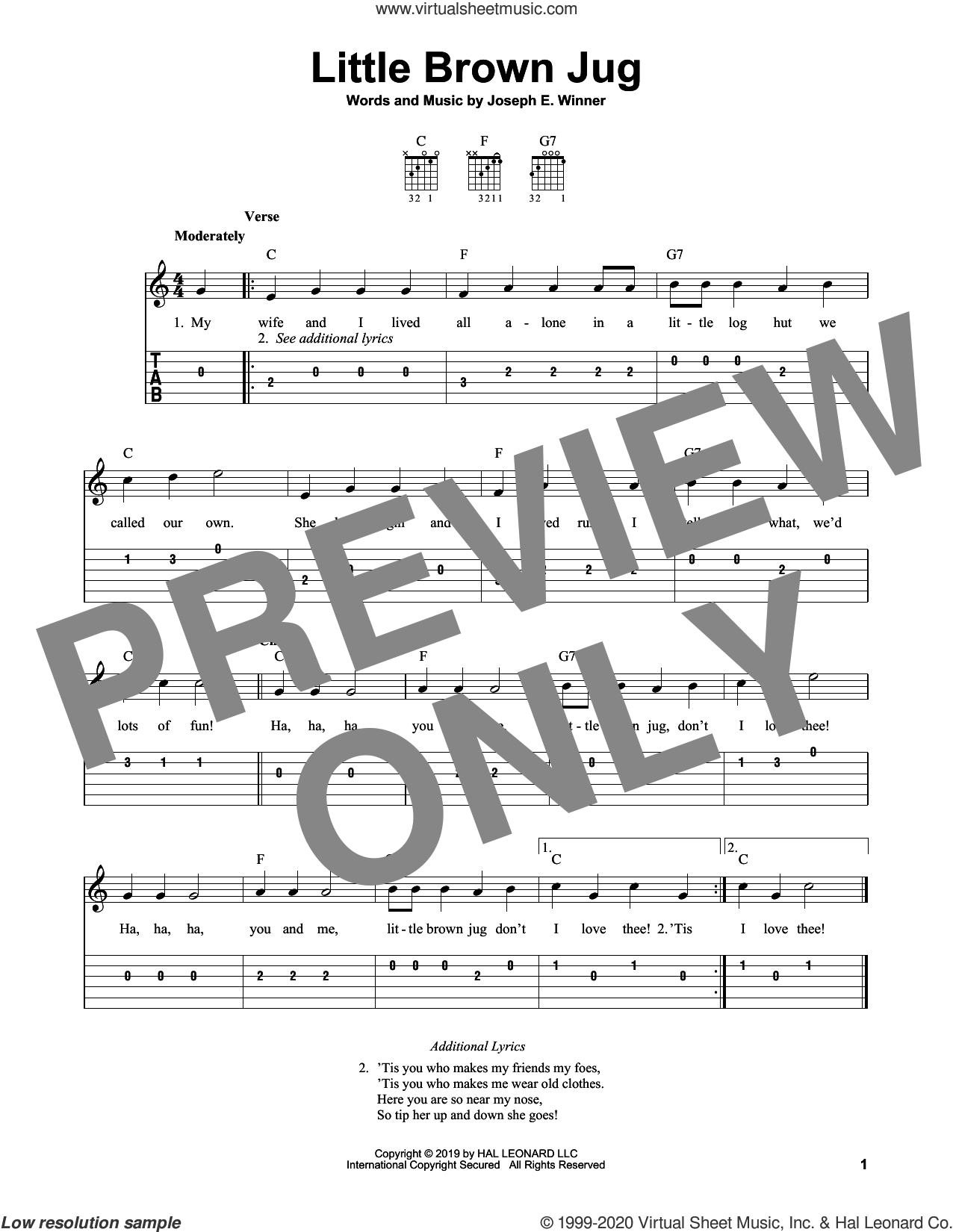 Little Brown Jug sheet music for guitar solo (easy tablature) by Joseph E. Winner, easy guitar (easy tablature)