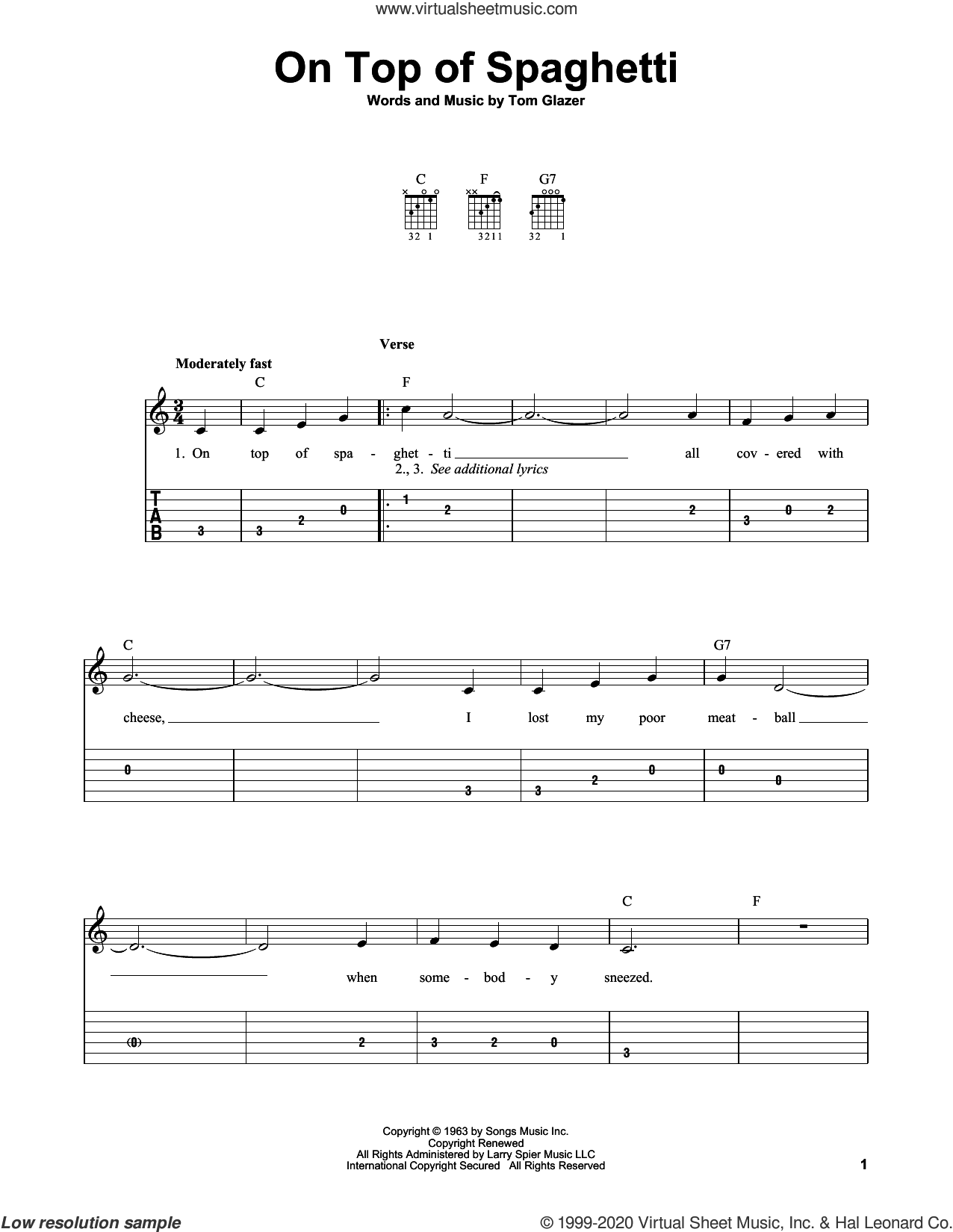 On Top Of Spaghetti sheet music for guitar solo (easy tablature) by Tom Glazer, easy guitar (easy tablature)