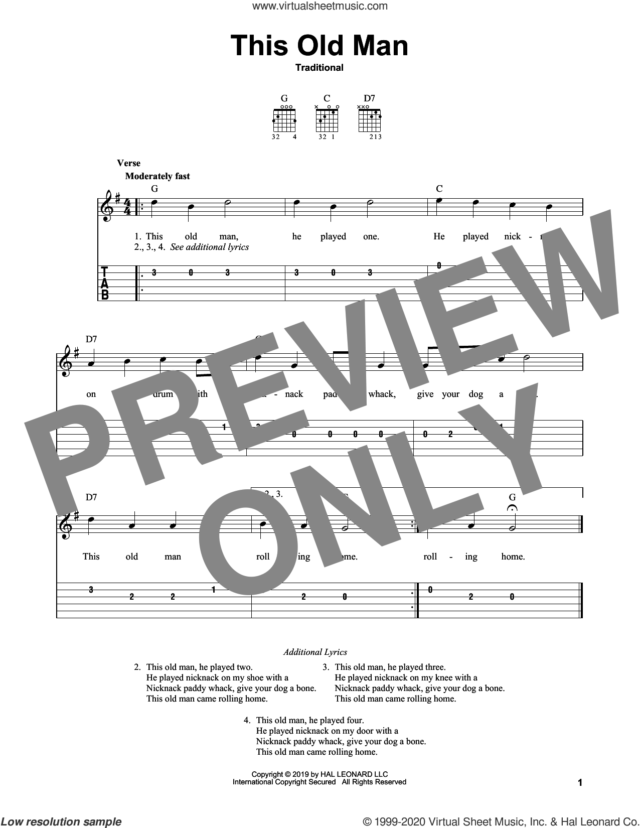 This Old Man sheet music for guitar solo (easy tablature), easy guitar (easy tablature)