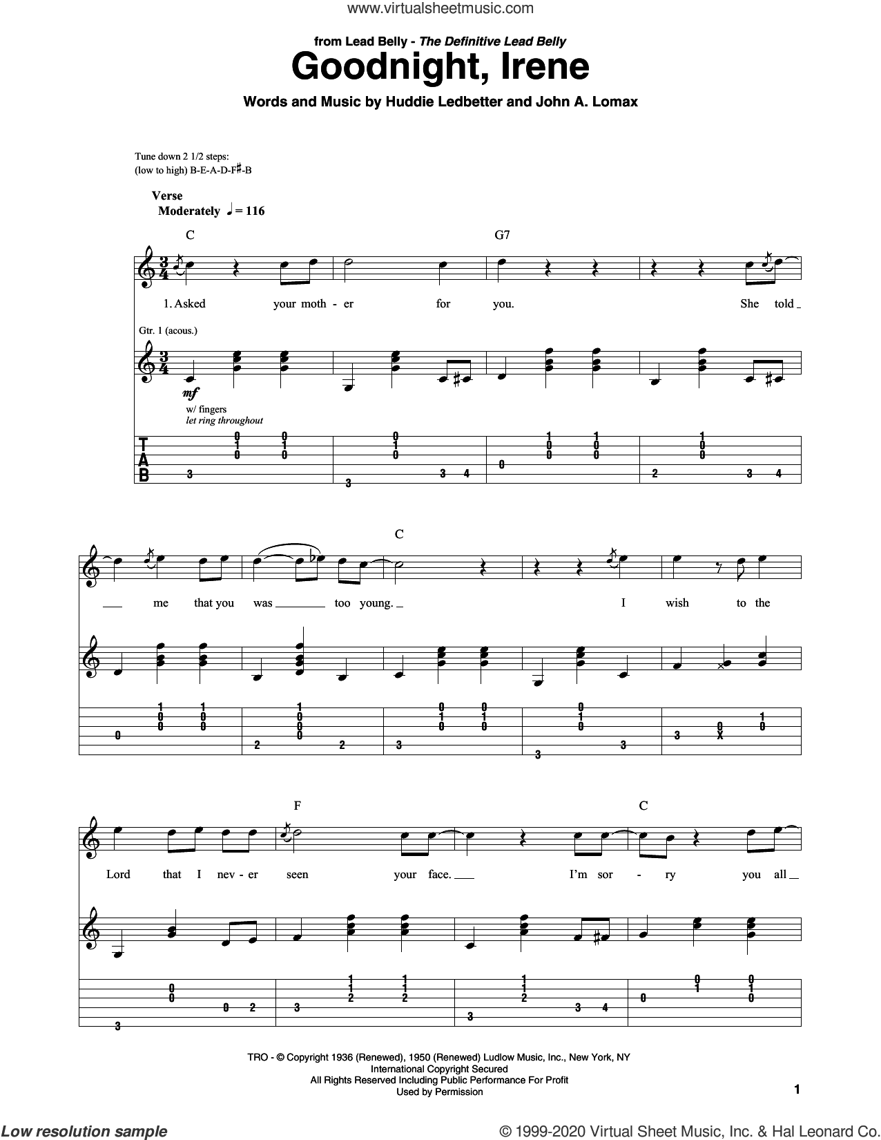 Goodnight, Irene sheet music for guitar solo by Peter, Paul & Mary, Ernest Tubb & Red Foley, Johnny Cash, Huddie Ledbetter and John A. Lomax, intermediate skill level
