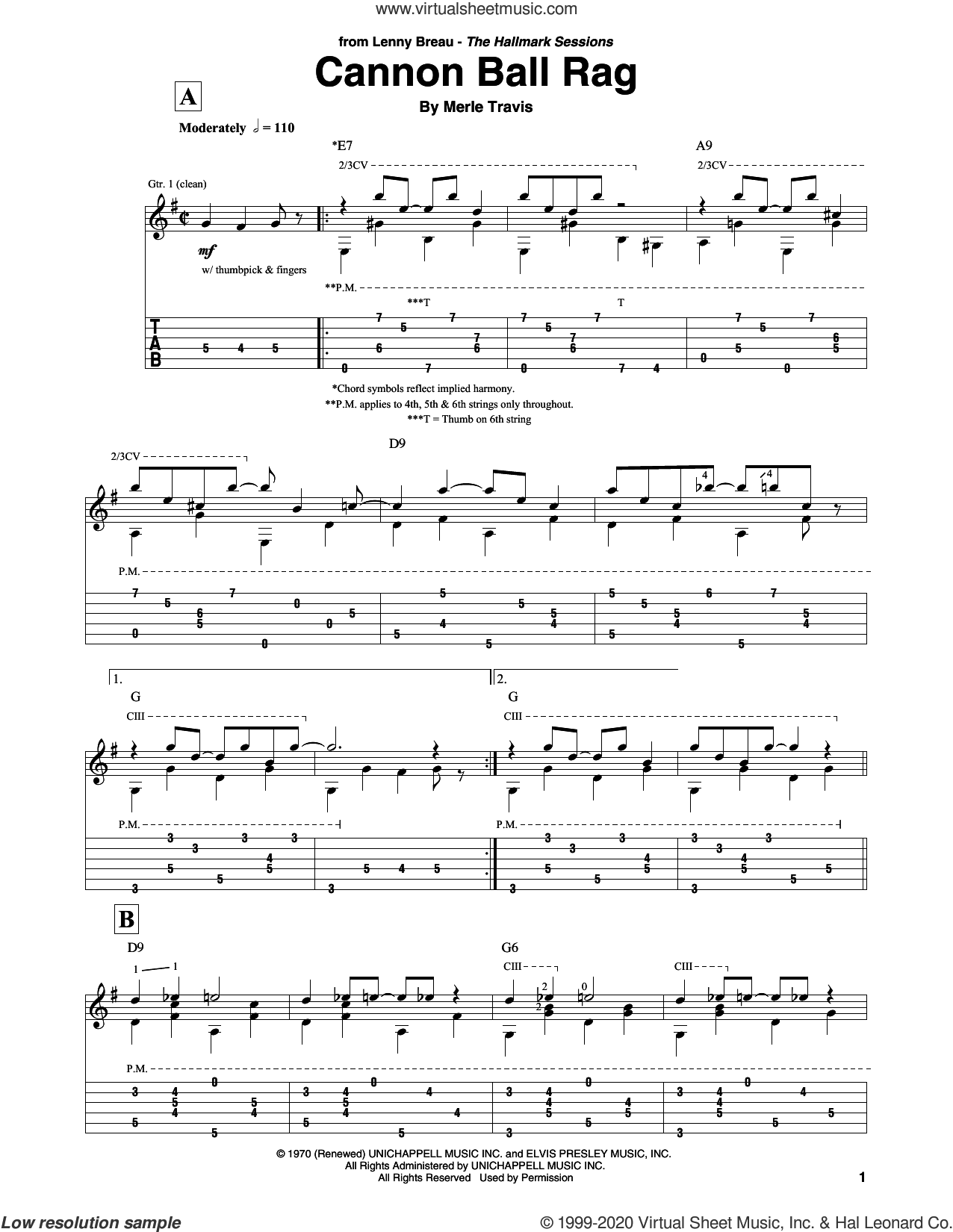 Cannon Ball Rag sheet music for guitar solo by Merle Travis, intermediate skill level