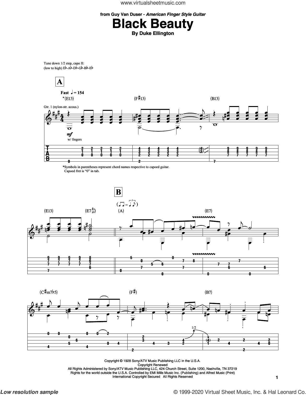 Black Beauty sheet music for guitar solo by Duke Ellington, intermediate skill level