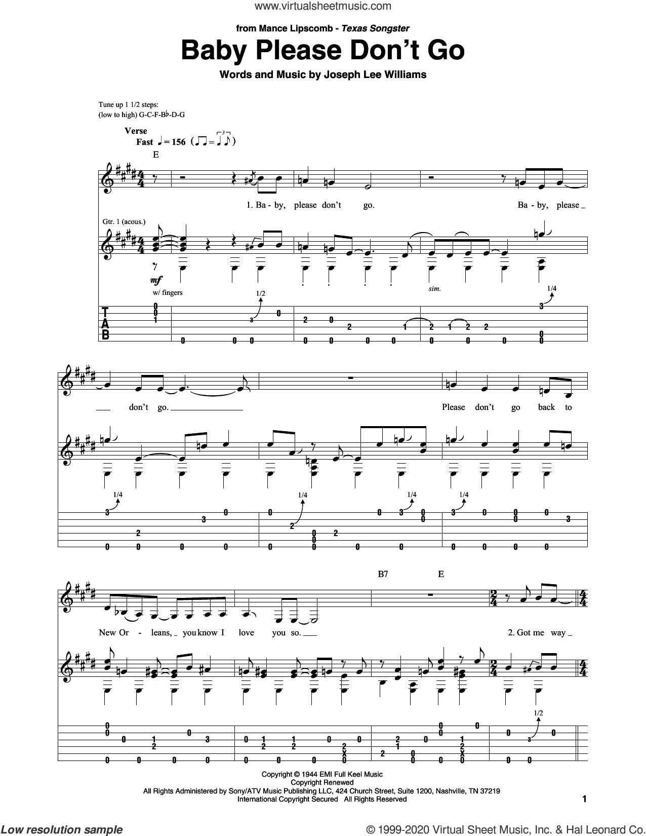 Baby Please Don't Go sheet music for guitar solo by Them, Van Morrison and Joseph Lee Williams, intermediate skill level