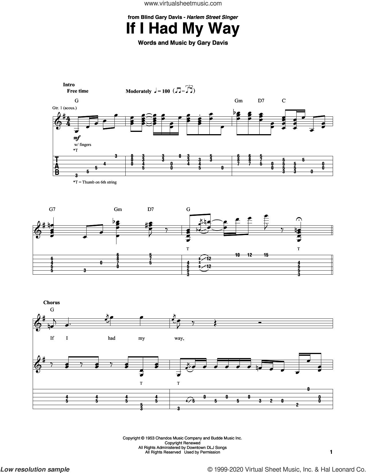 If I Had My Way sheet music for guitar solo by Gary Davis, intermediate skill level