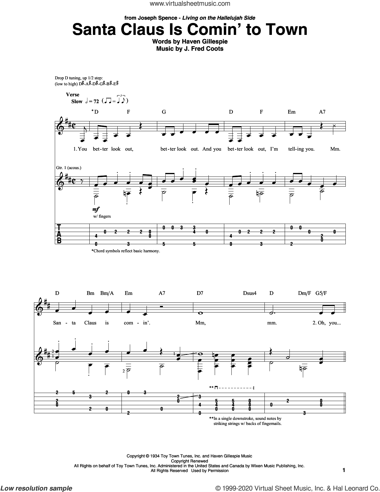 Santa Claus Is Comin' To Town sheet music for guitar solo by J. Fred Coots and Haven Gillespie, intermediate skill level
