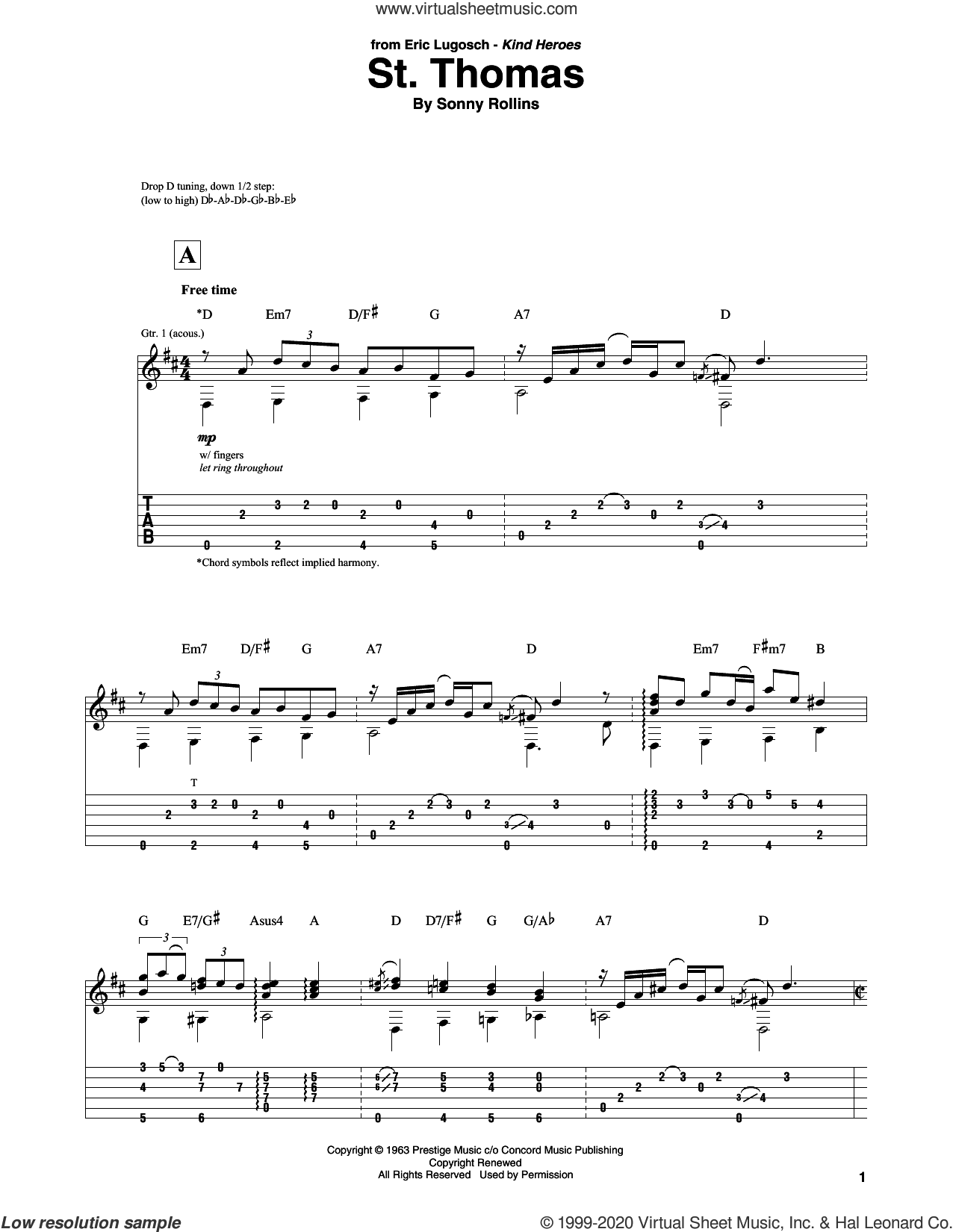 St. Thomas sheet music for guitar solo by Sonny Rollins, intermediate skill level