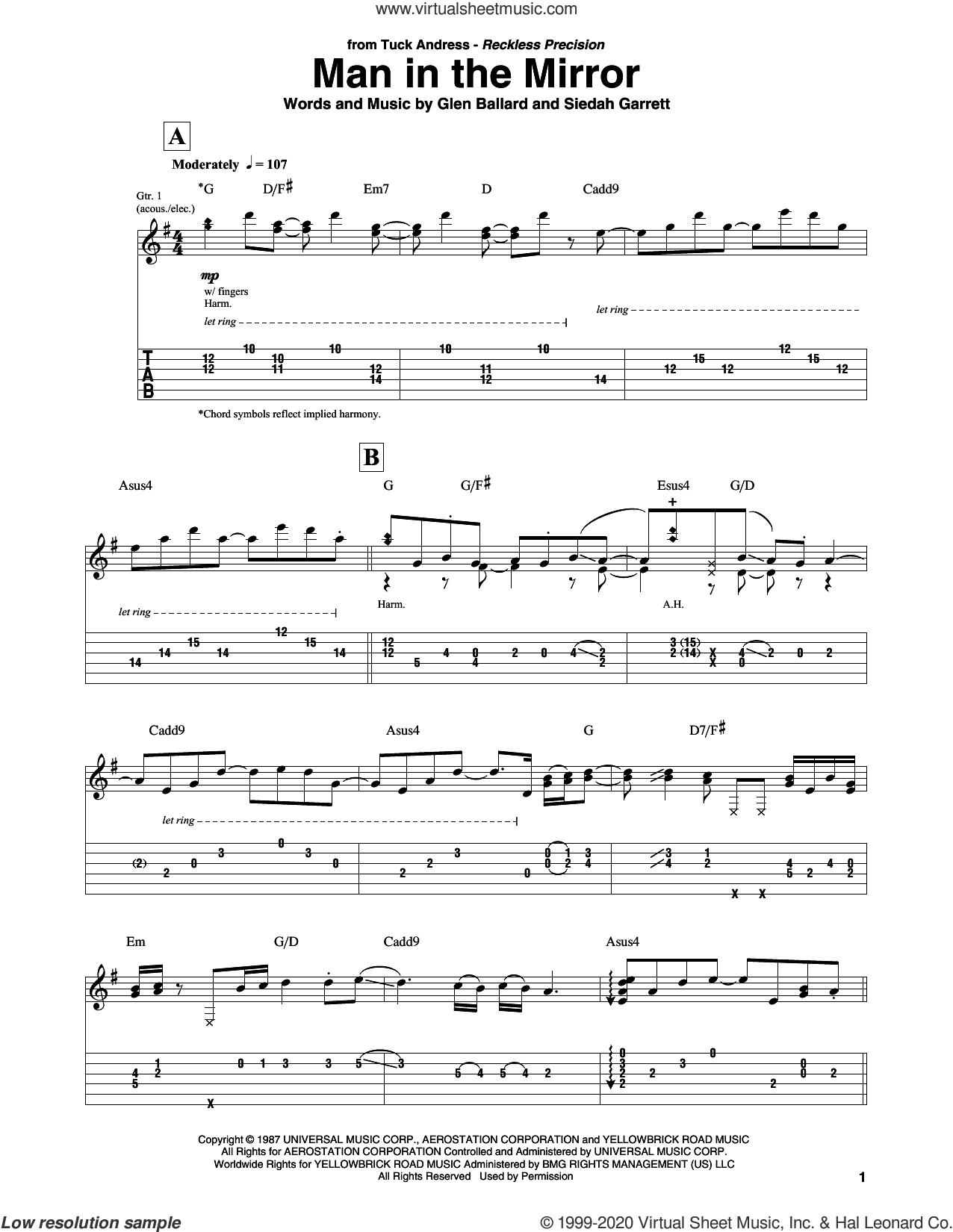 Man In The Mirror sheet music for guitar solo by Michael Jackson, Glen Ballard and Siedah Garrett, intermediate skill level