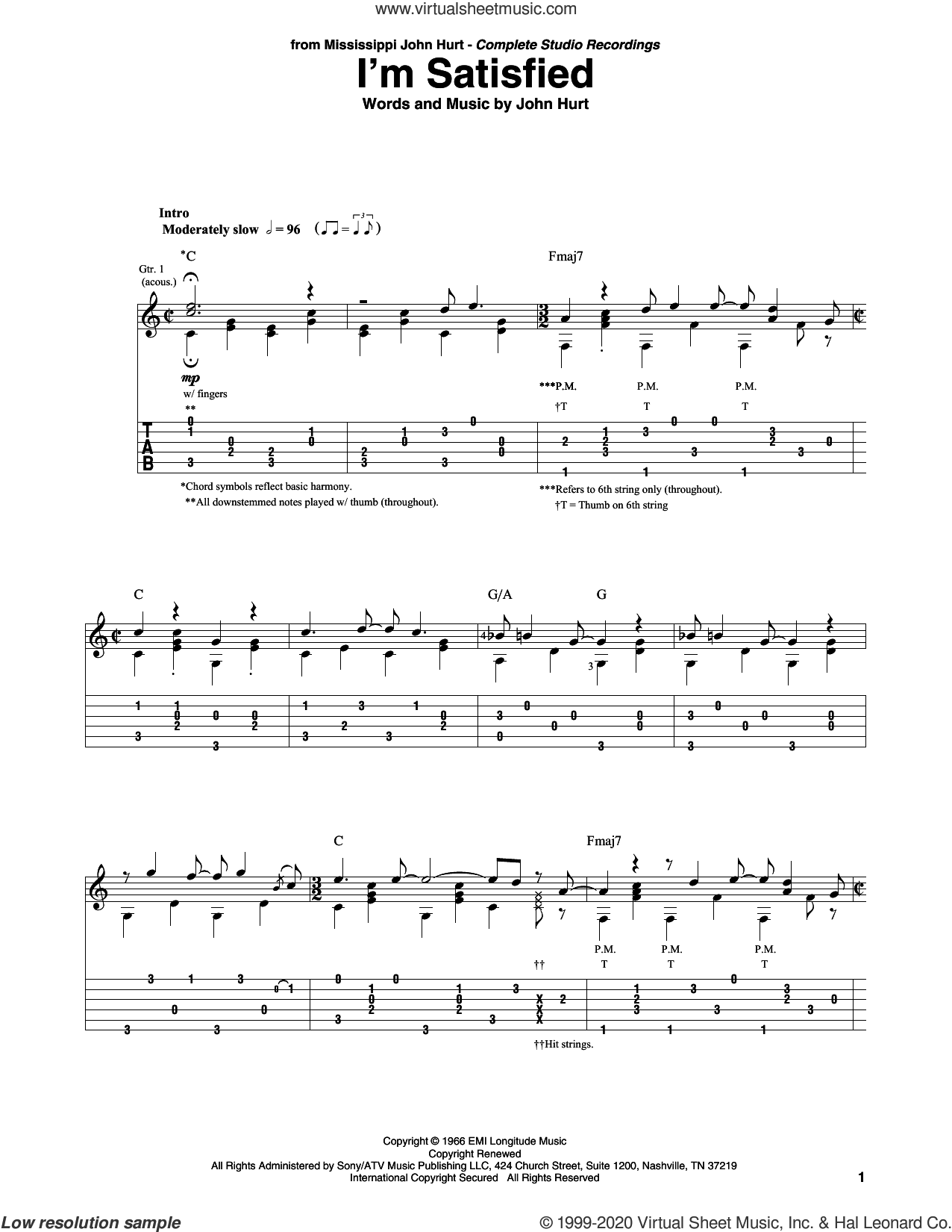 I'm Satisfied sheet music for guitar solo by John Hurt and Mississippi John Hurt, intermediate skill level