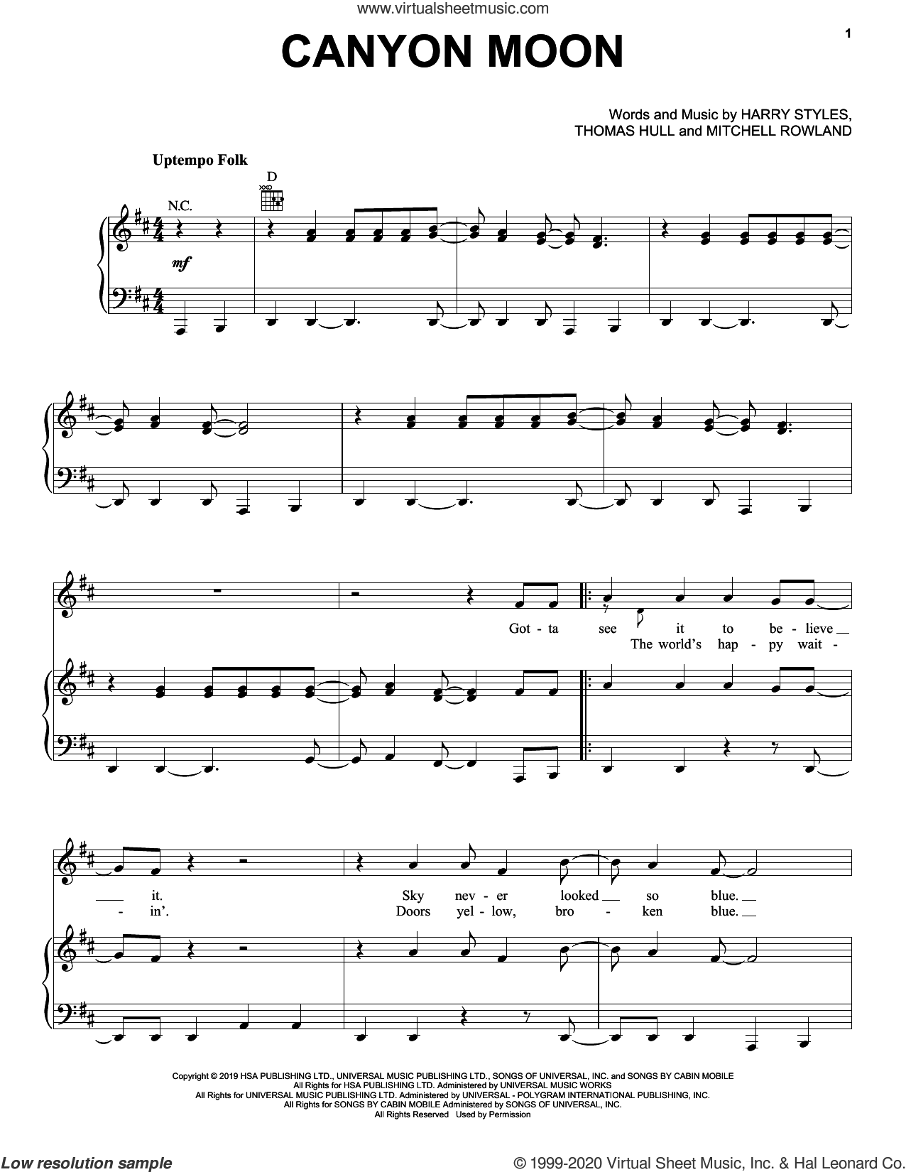 Canyon Moon sheet music for voice, piano or guitar by Harry Styles, Mitchell Rowland and Tom Hull, intermediate skill level