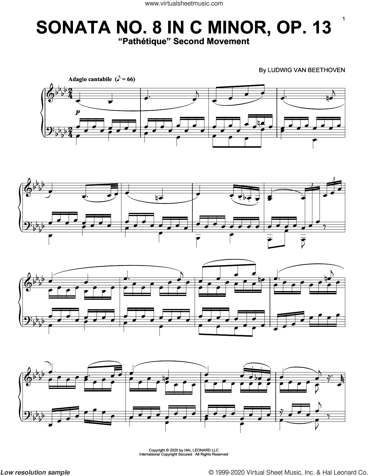 Sonata In C Minor, Op. 13 'Pathetique' (2nd Movement) sheet music for piano solo by Ludwig van Beethoven, classical score, intermediate skill level