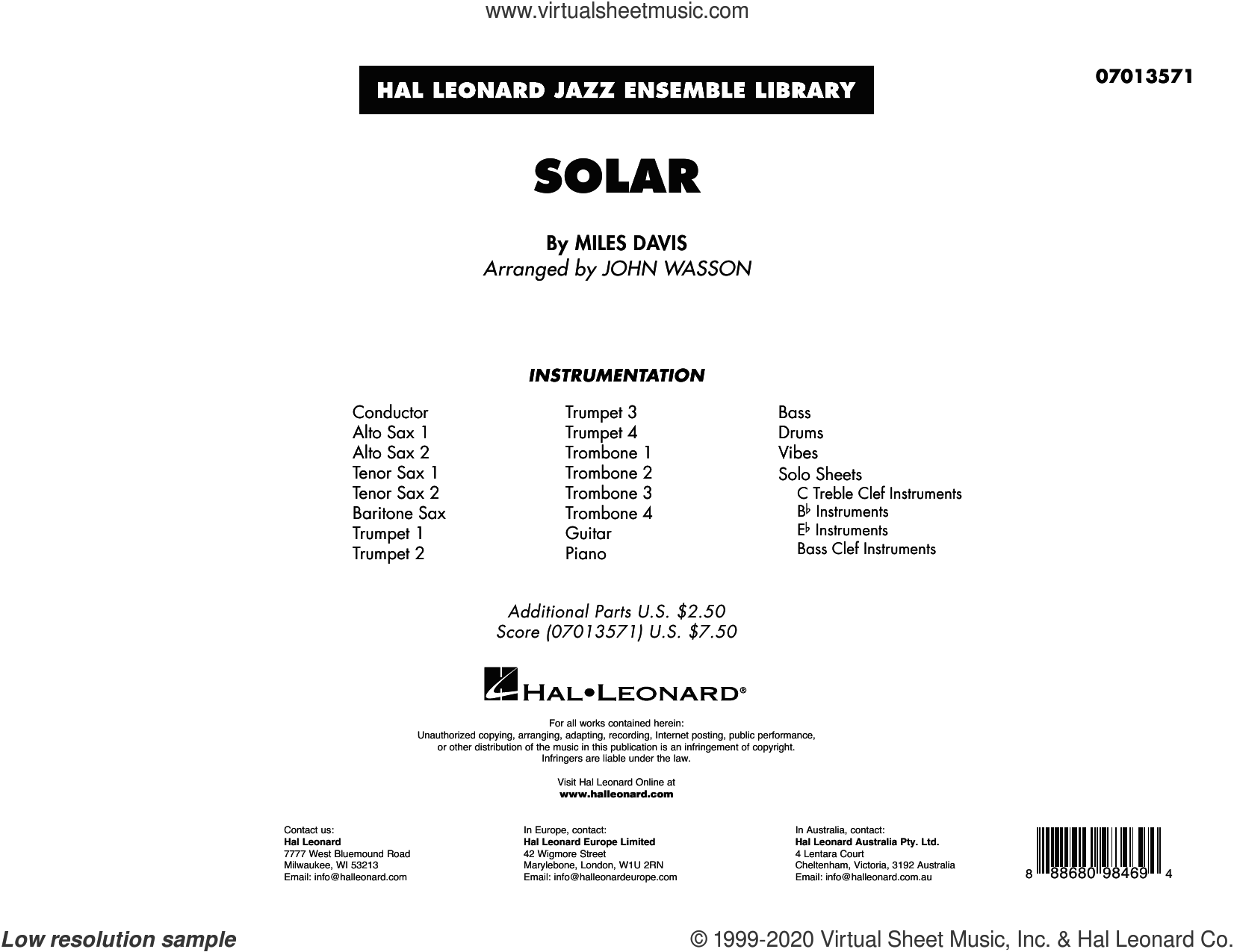 Solar (arr. John Wasson) (COMPLETE) sheet music for jazz band by Miles Davis and John Wasson, intermediate skill level