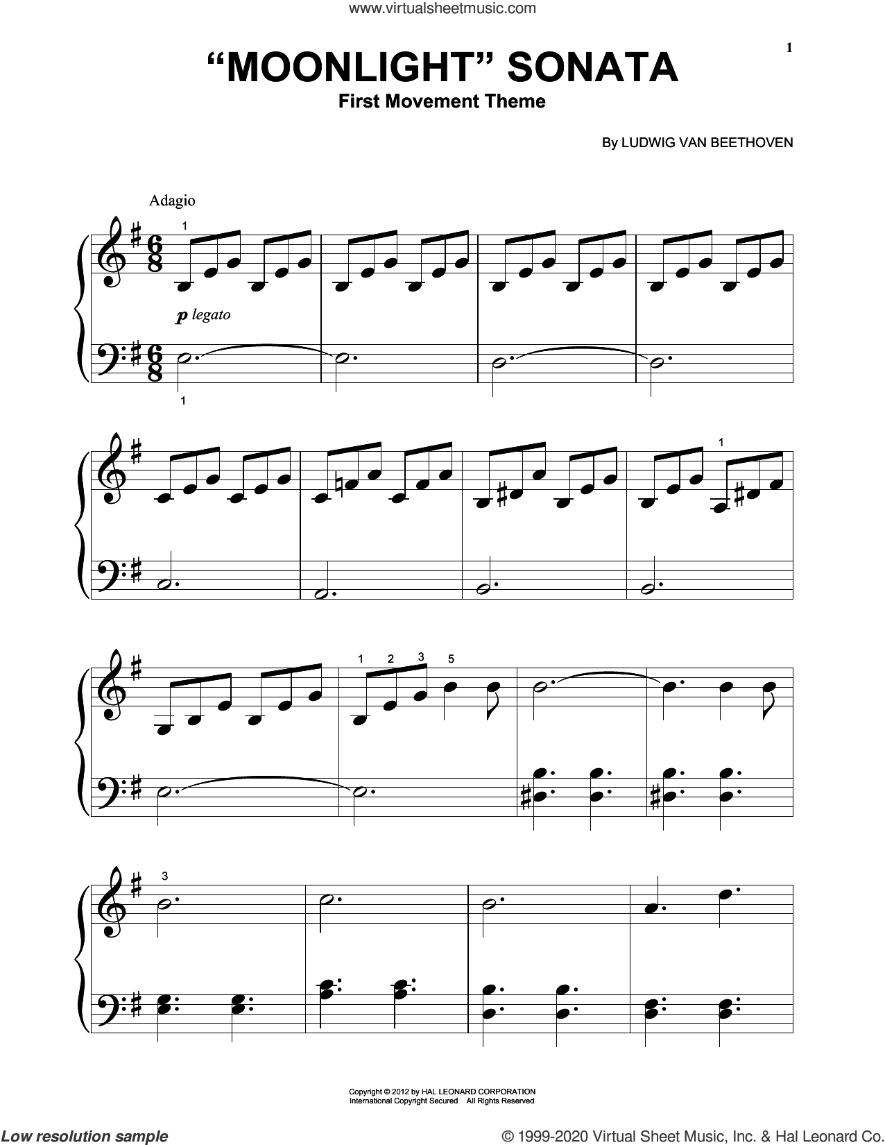 Piano Sonata No. 14 In C# Minor ('Moonlight') Op. 27, No. 2, First Movement Theme sheet music for piano solo (big note book) by Ludwig van Beethoven, classical score, easy piano (big note book)