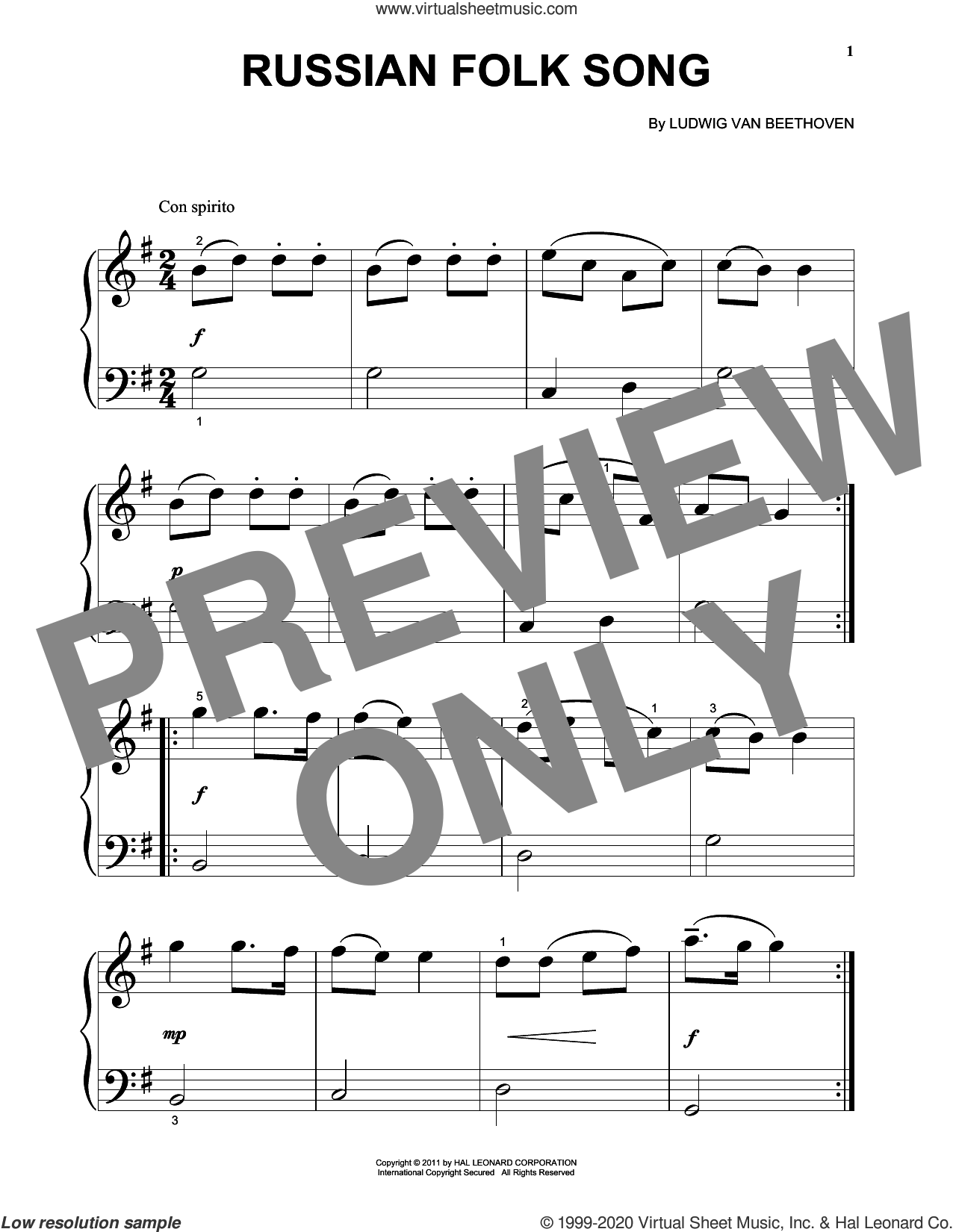 Russian Folk Song sheet music for piano solo (big note book) by Ludwig van Beethoven, classical score, easy piano (big note book)
