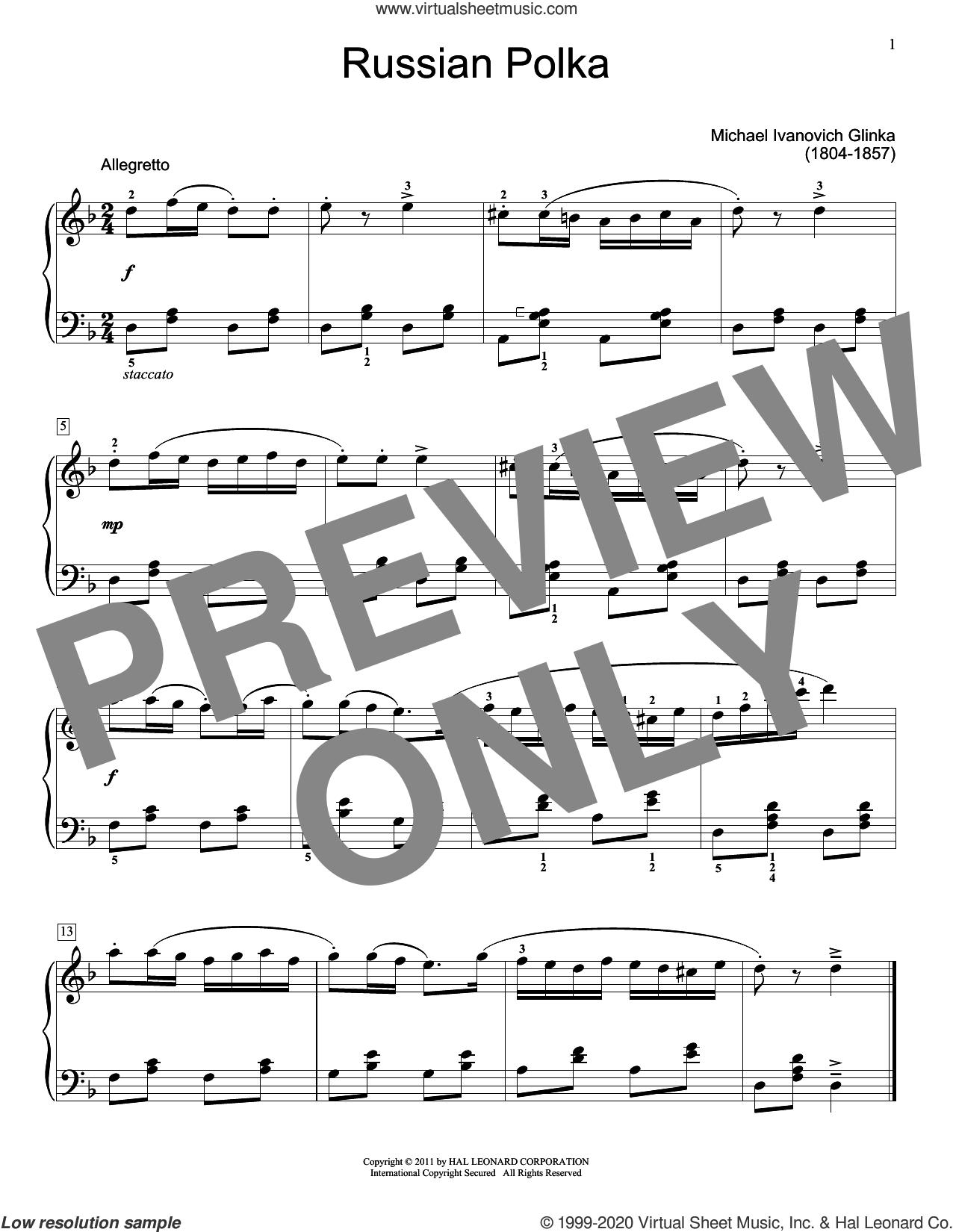 Russian Polka sheet music for piano solo (elementary) by Mikhail Glinka and Jennifer Linn, classical score, beginner piano (elementary)